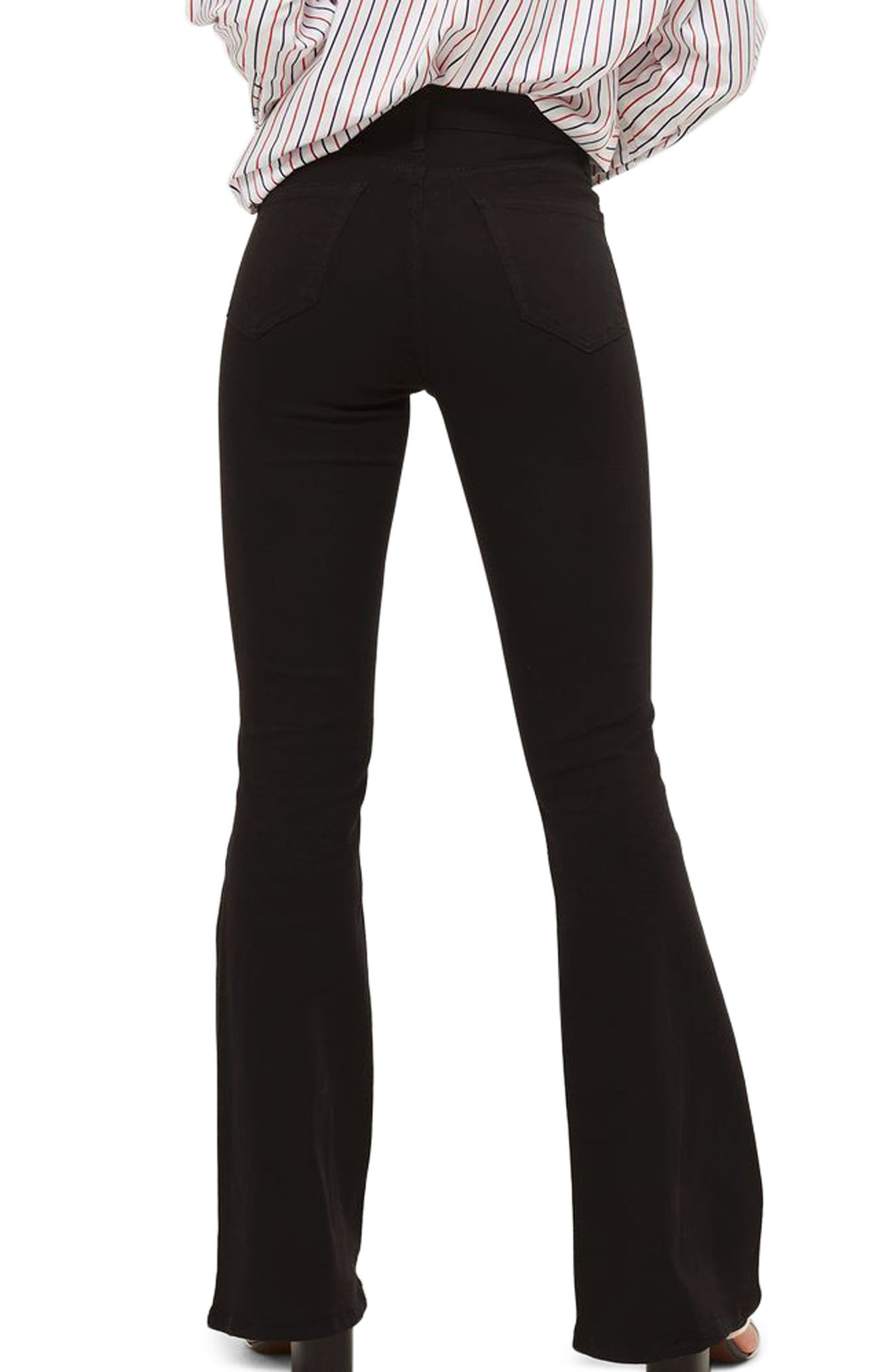 Jamie High Waist Flare Jeans,                             Alternate thumbnail 3, color,                             Black