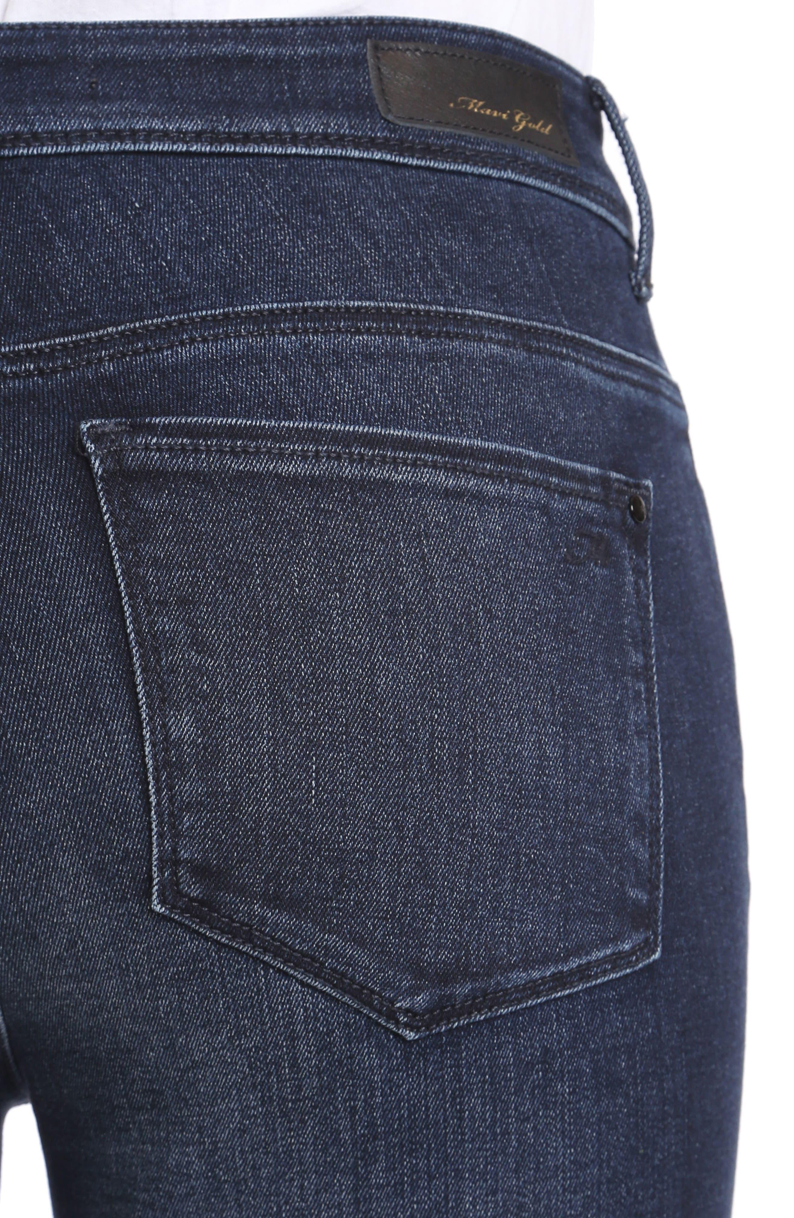 Alternate Image 4  - Mavi Jeans Kendra High Waist Straight Jeans (Deep Ink Gold)