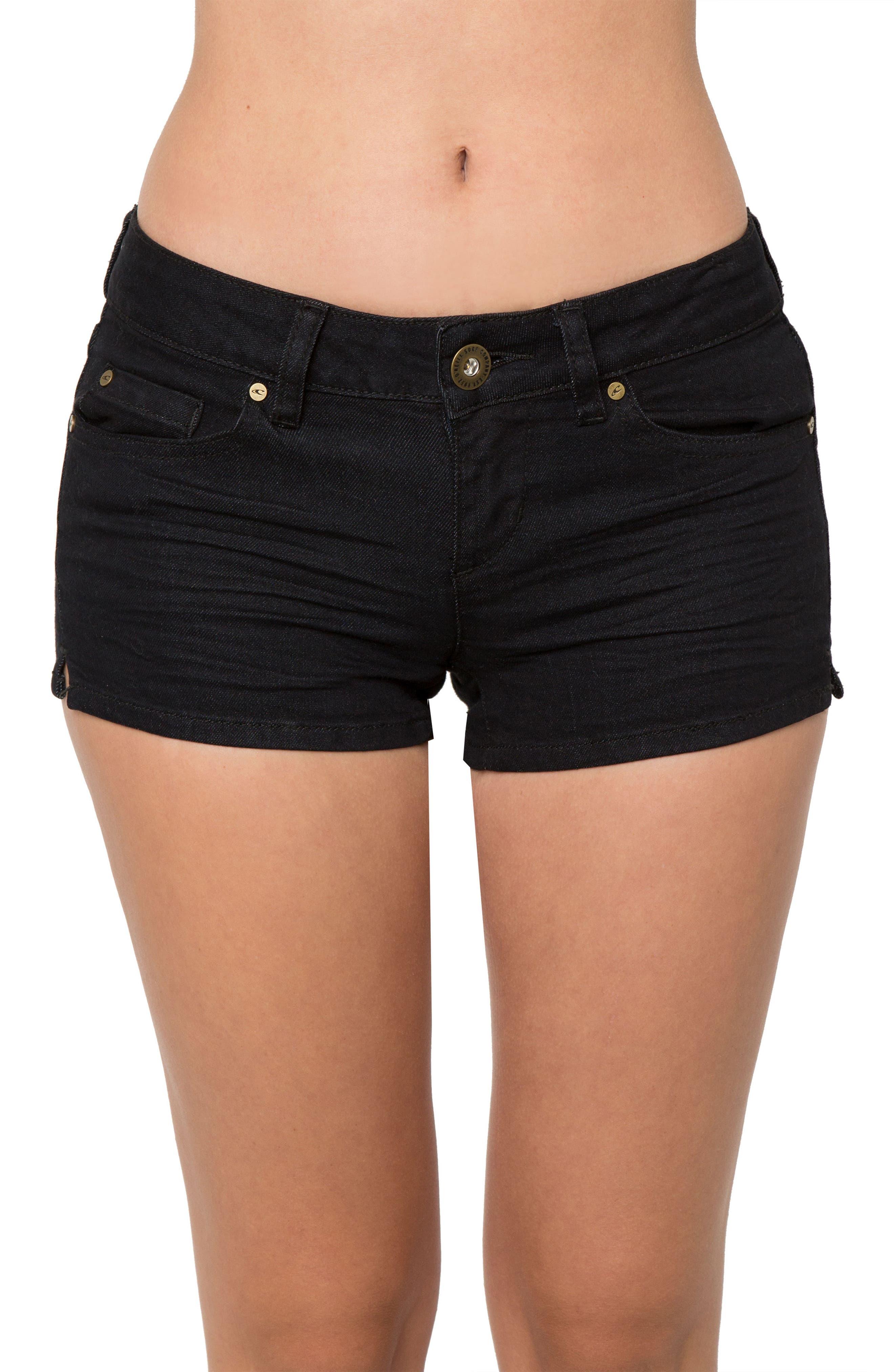 Wesley Denim Shorts,                         Main,                         color, Black