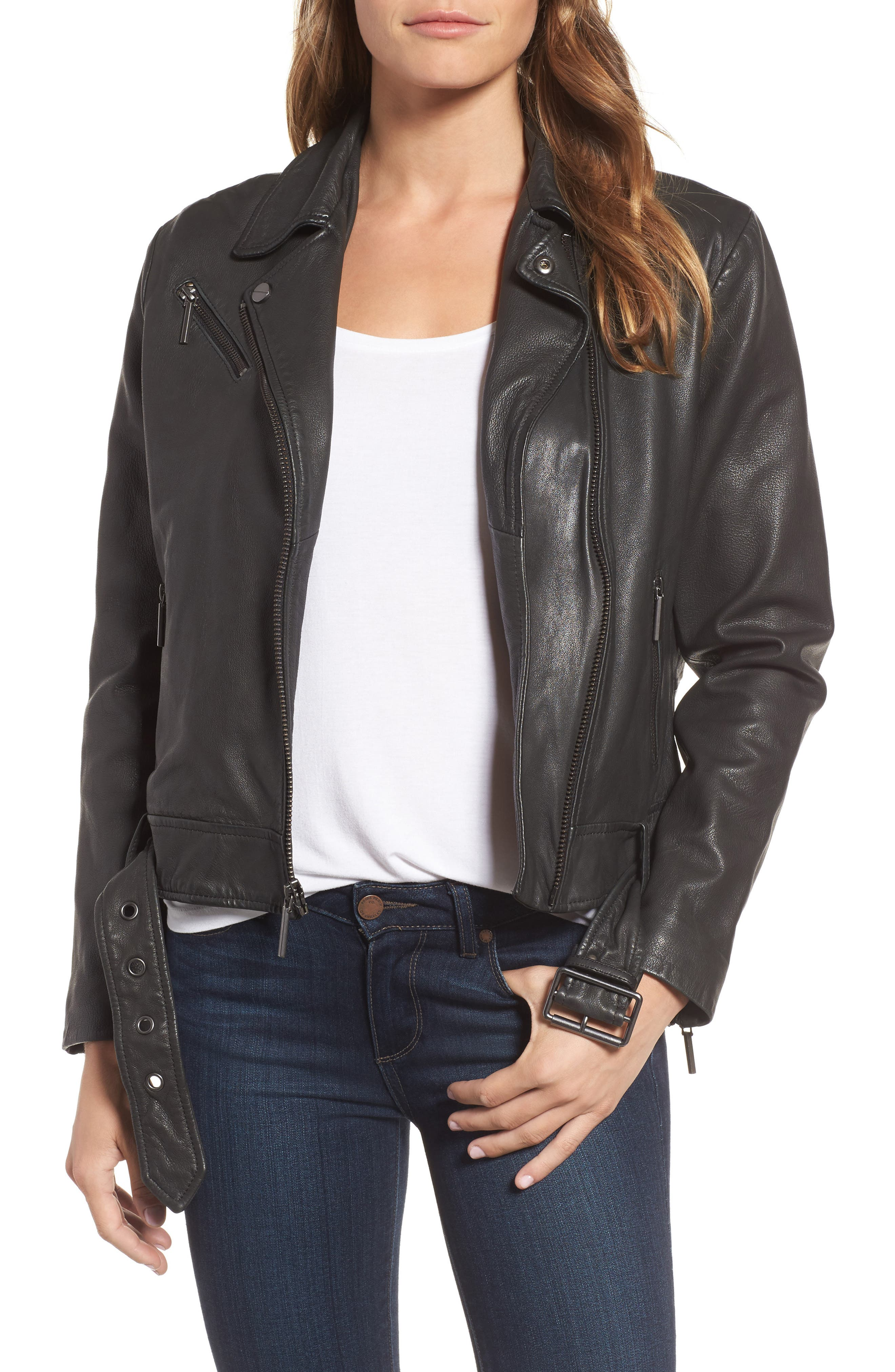 Main Image - Kenneth Cole New York Leather Moto Jacket