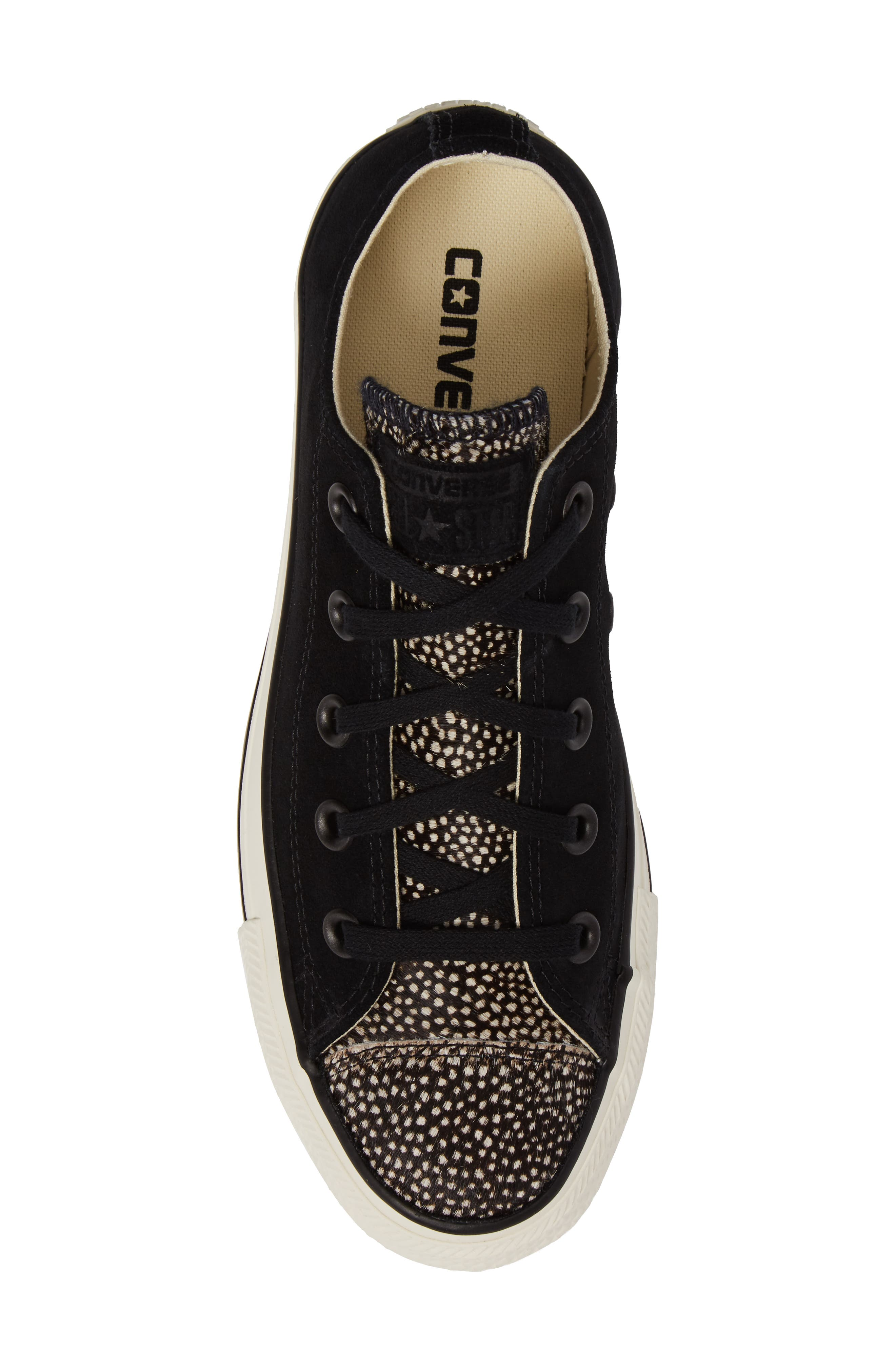 Chuck Taylor<sup>®</sup> All Star<sup>®</sup> Ox Genuine Calf Hair Sneaker,                             Alternate thumbnail 5, color,                             Black