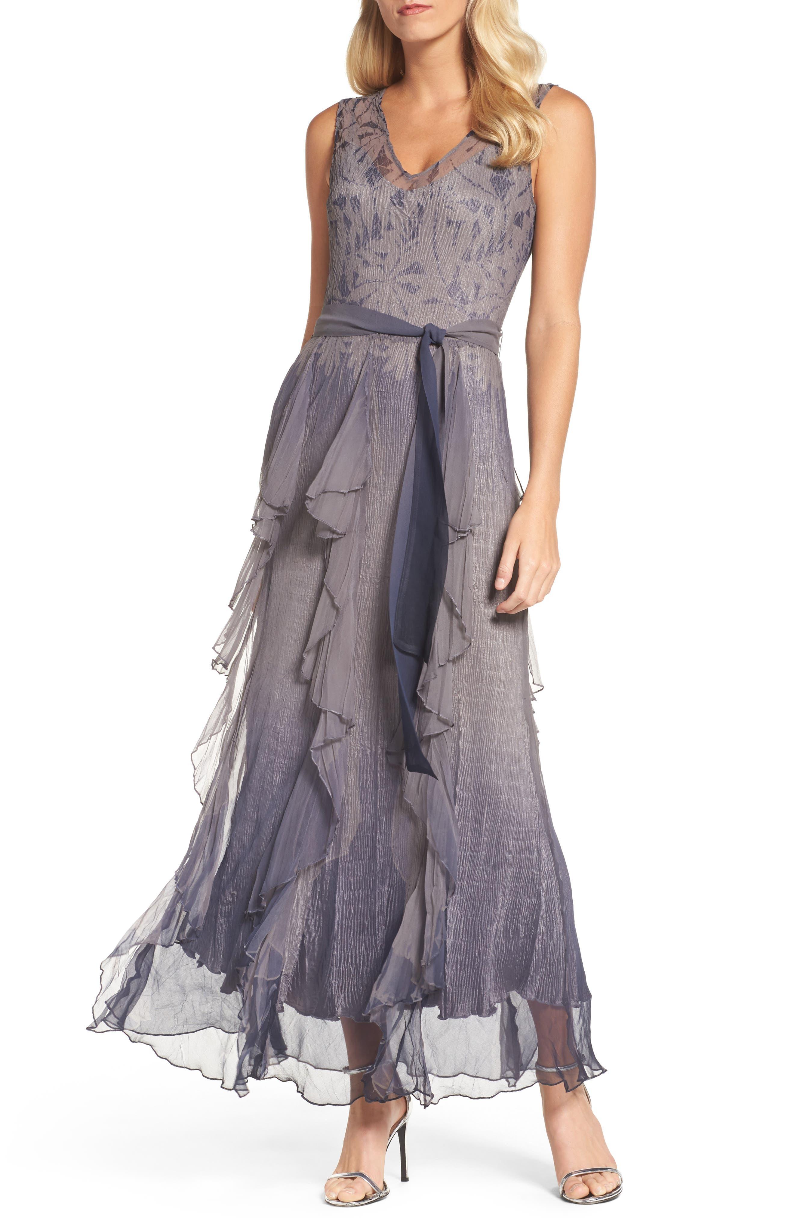 Print Sash Maxi Dress,                         Main,                         color, Concrete Blue