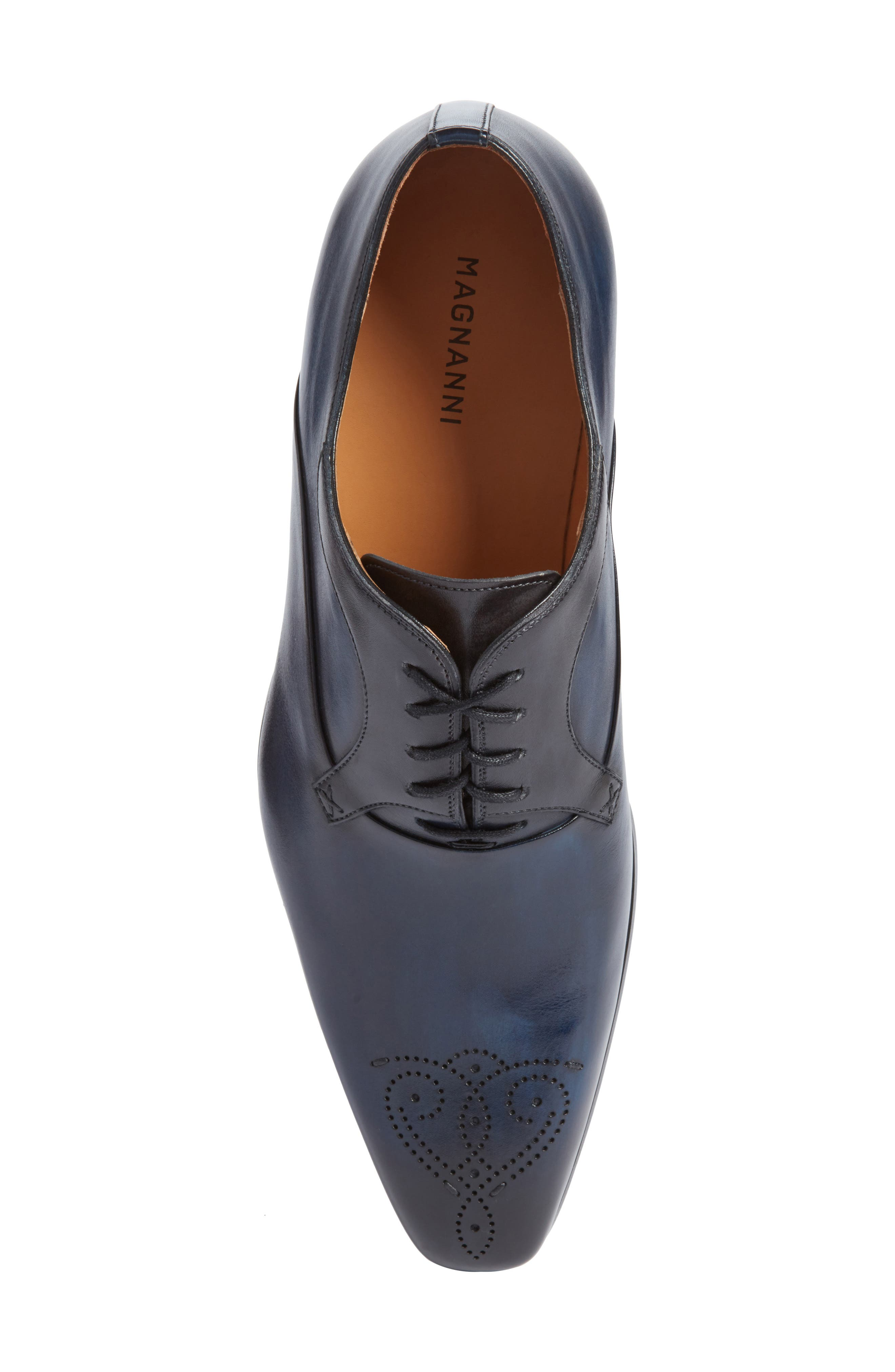 Salva Medallion Toe Oxford,                             Alternate thumbnail 5, color,                             Navy Leather