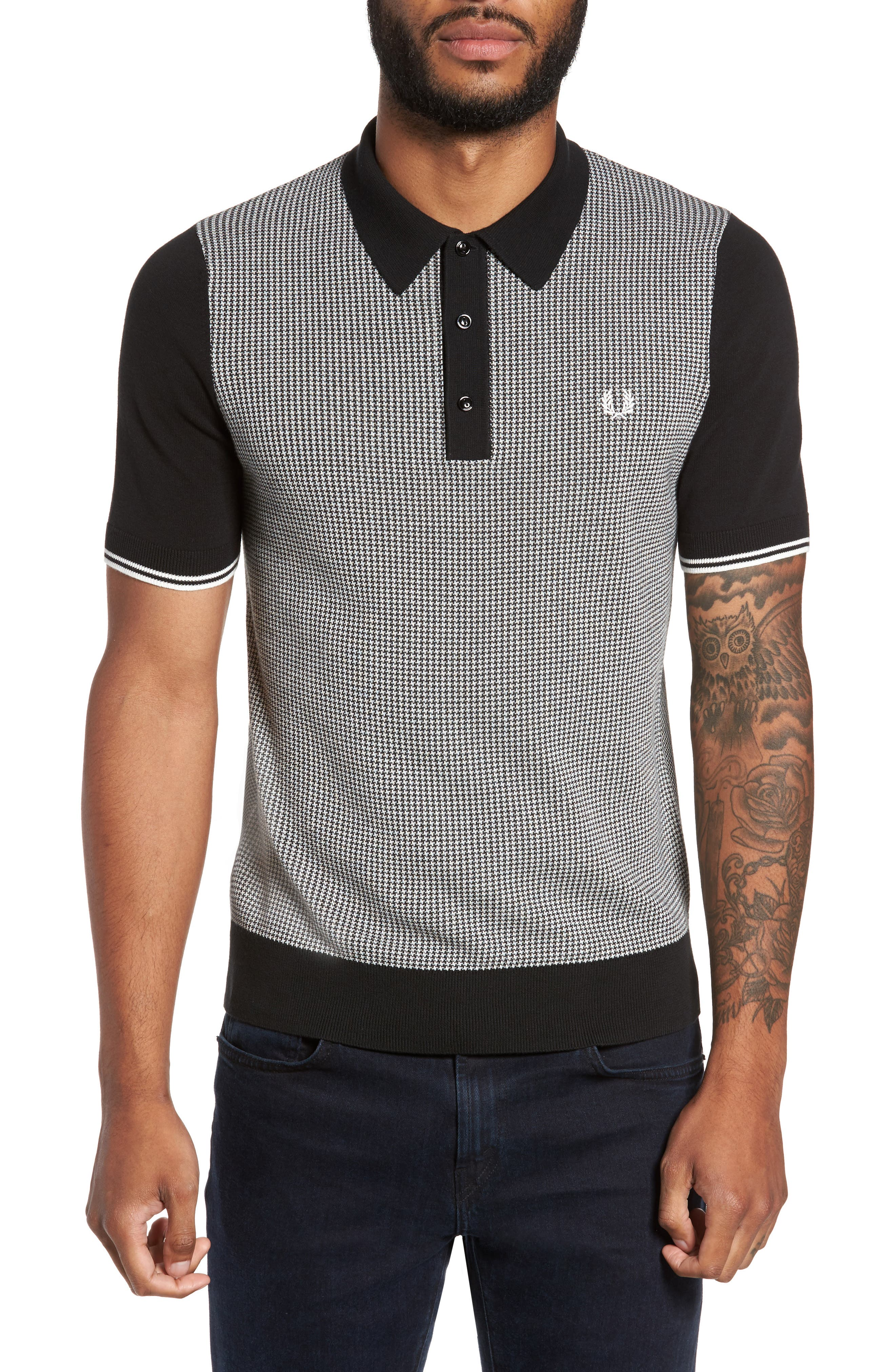 Houndstooth Knit Polo,                             Main thumbnail 1, color,                             Black