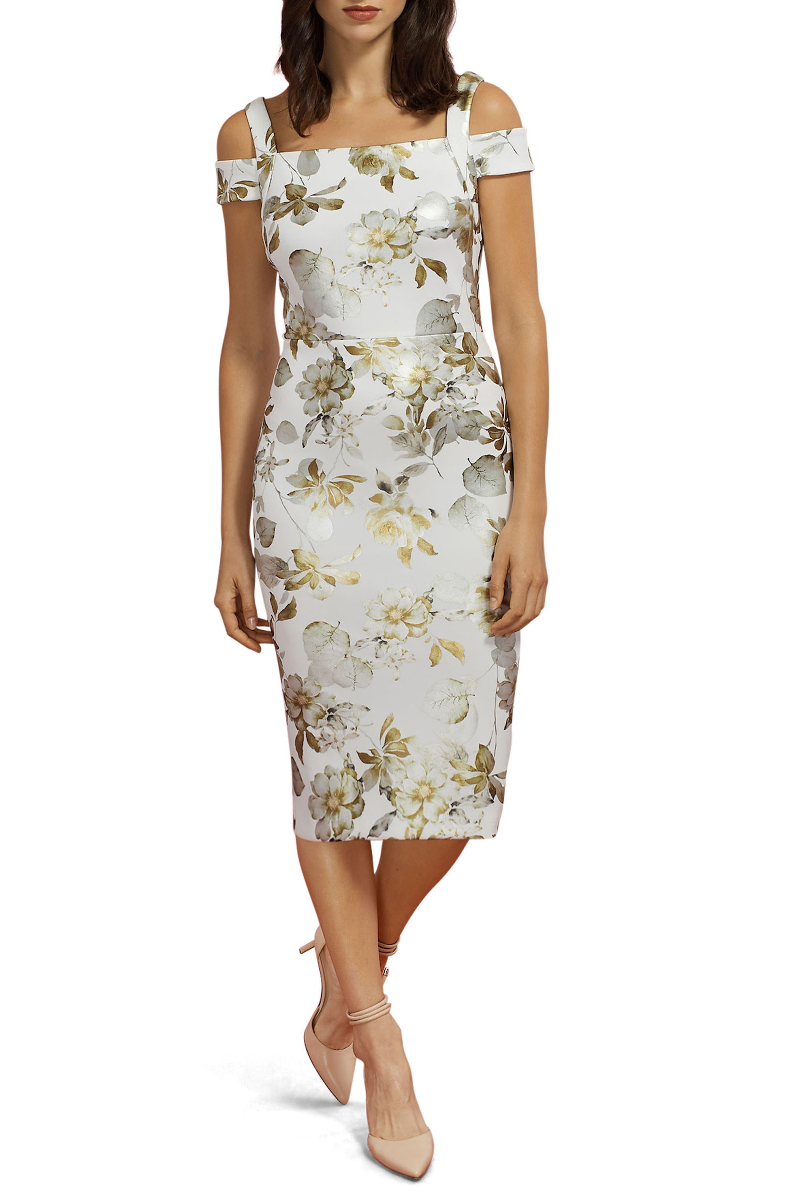 Cold Shoulder Sheath Dress,                         Main,                         color, Ivory/ Gold