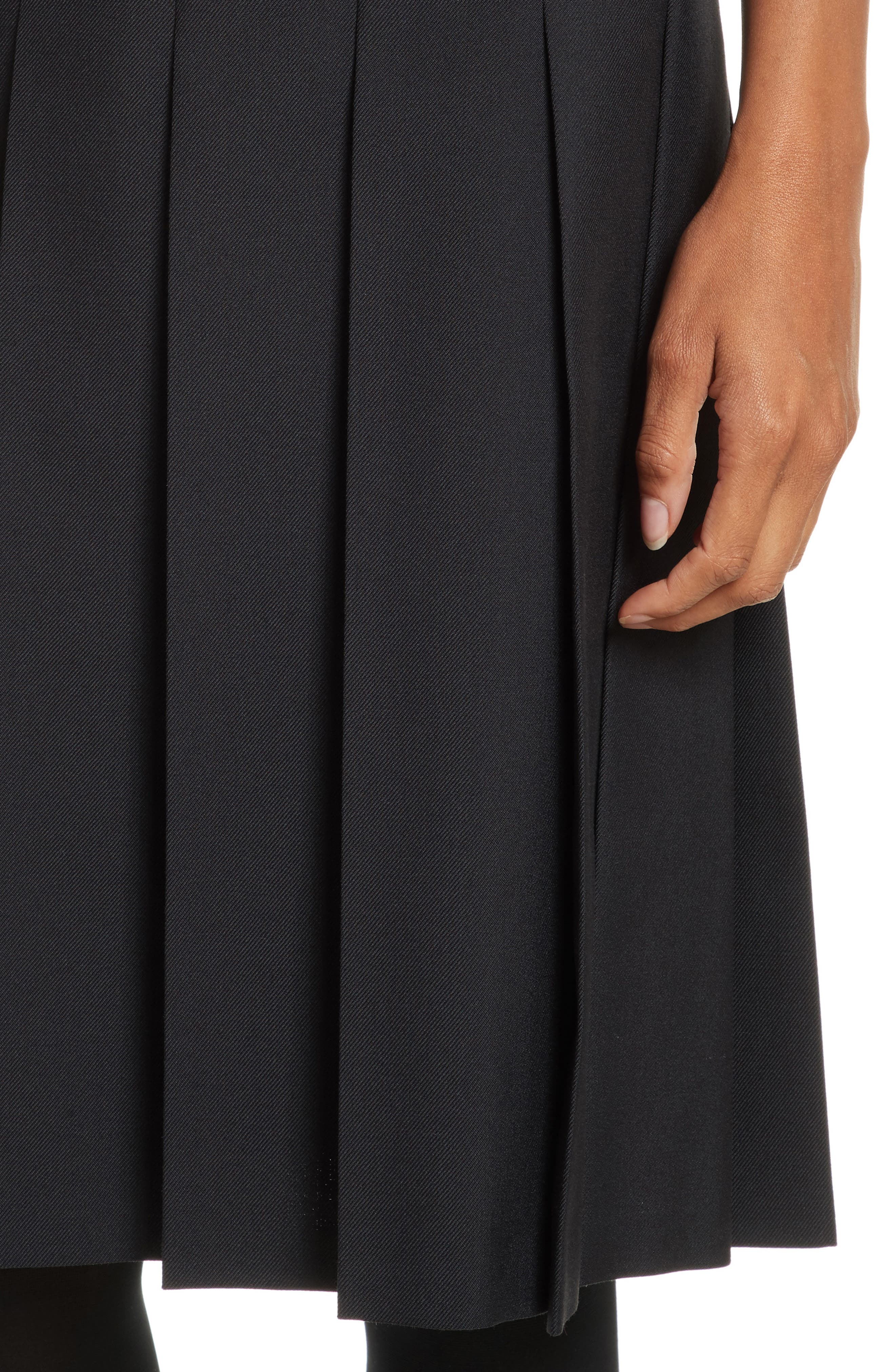 Pleated A-Line Skirt,                             Alternate thumbnail 4, color,                             Black