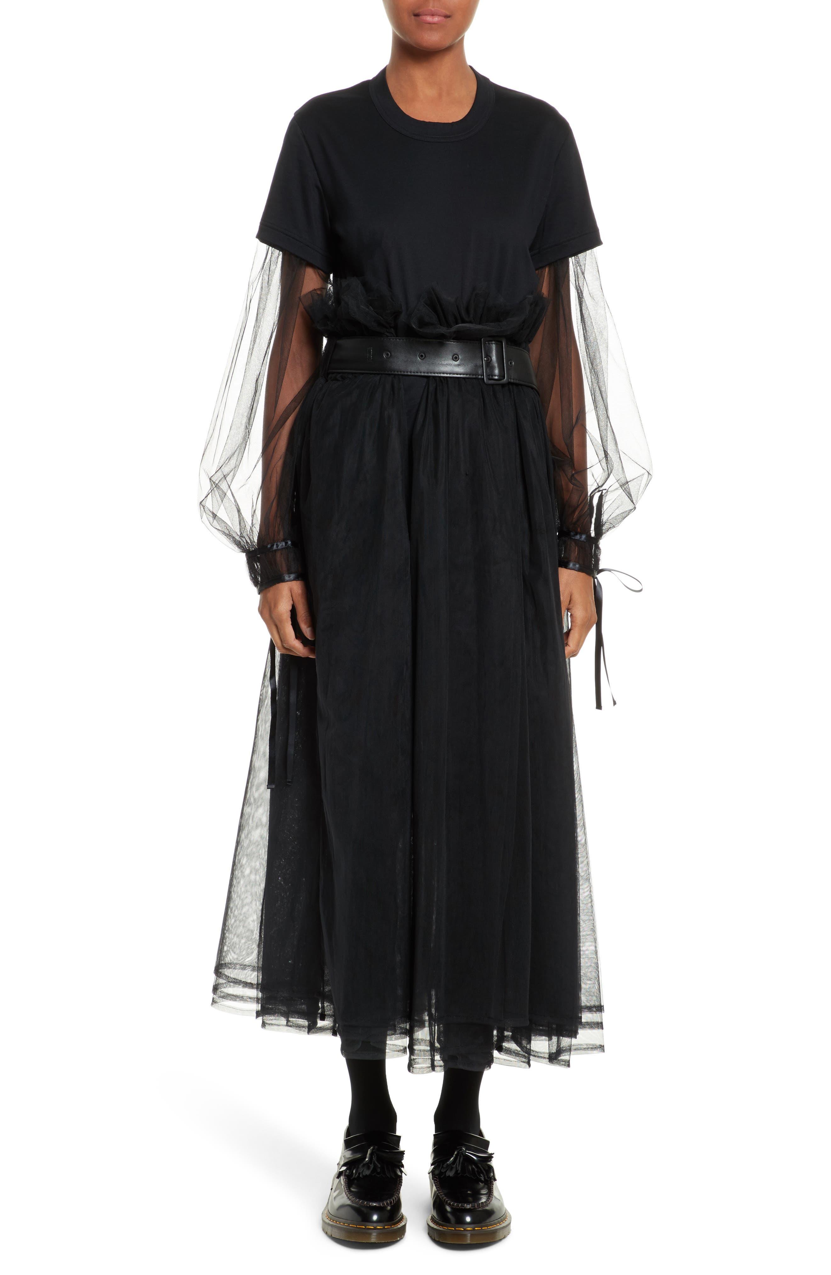 Tulle Midi Skirt,                             Alternate thumbnail 7, color,                             Black