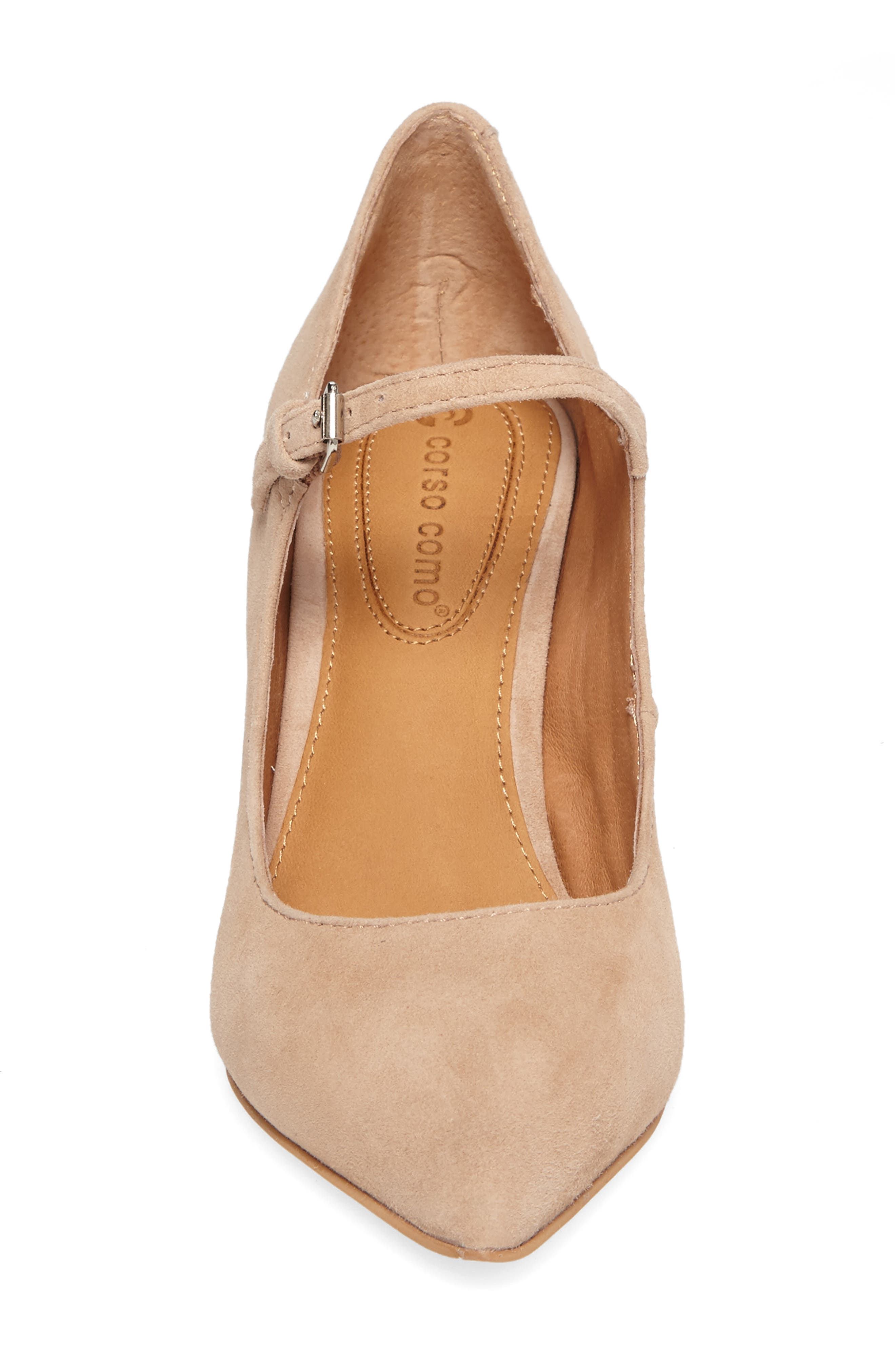 Coy Pointy Toe Pump,                             Alternate thumbnail 4, color,                             Dark Nude Suede