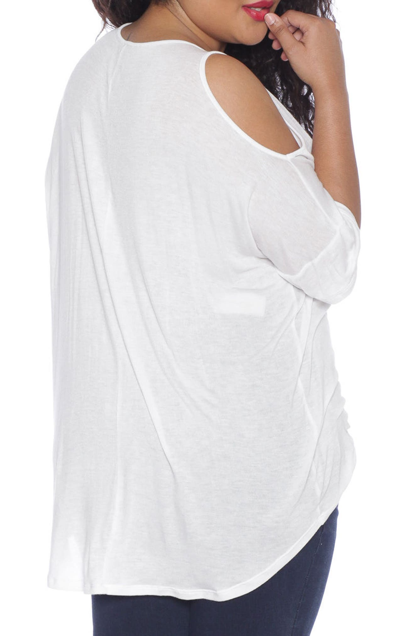 Alternate Image 2  - SLINK Jeans Cold Shoulder Top (Plus Size)