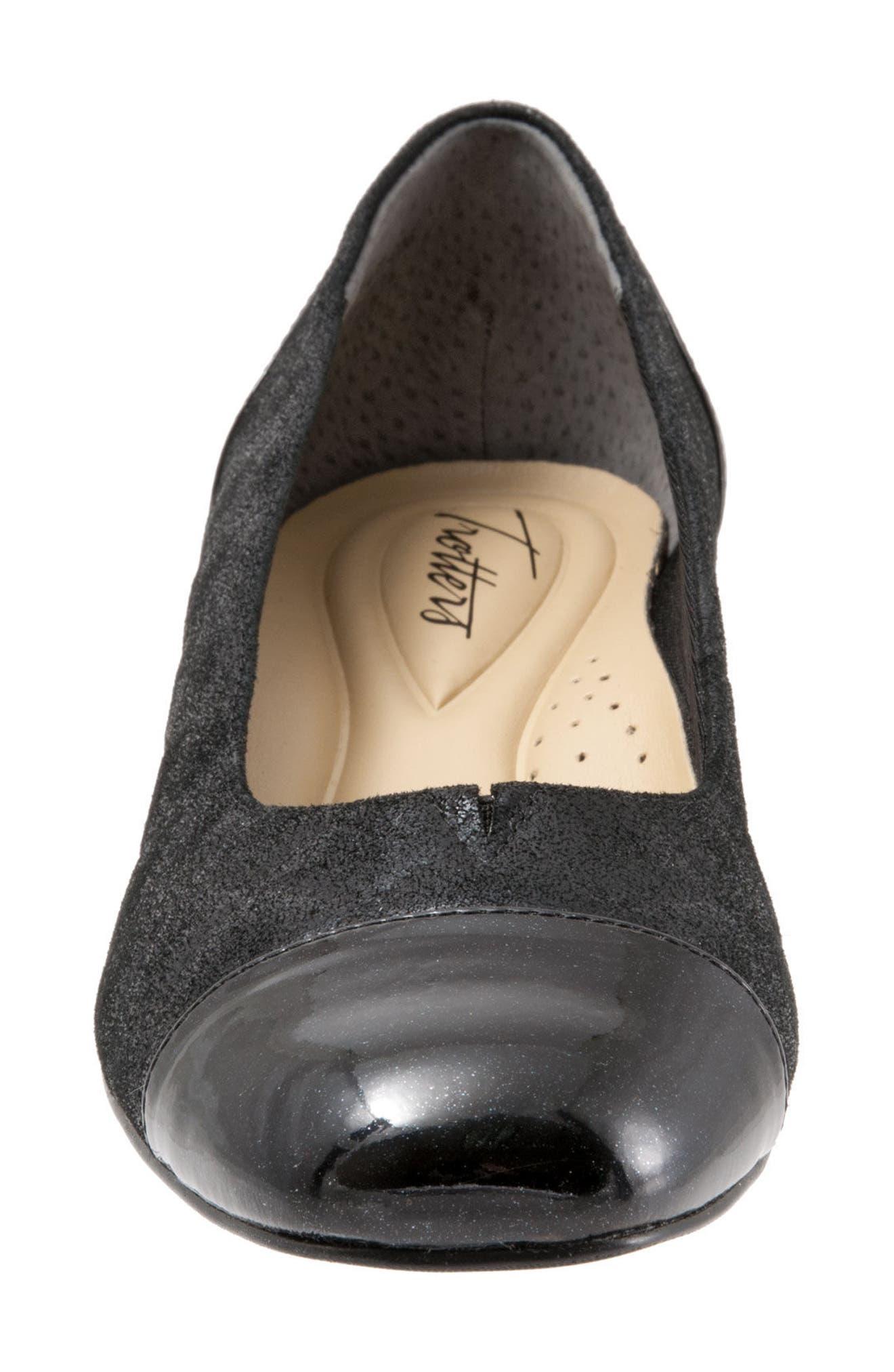'Signature Danelle' Pump,                             Alternate thumbnail 4, color,                             Black Leather