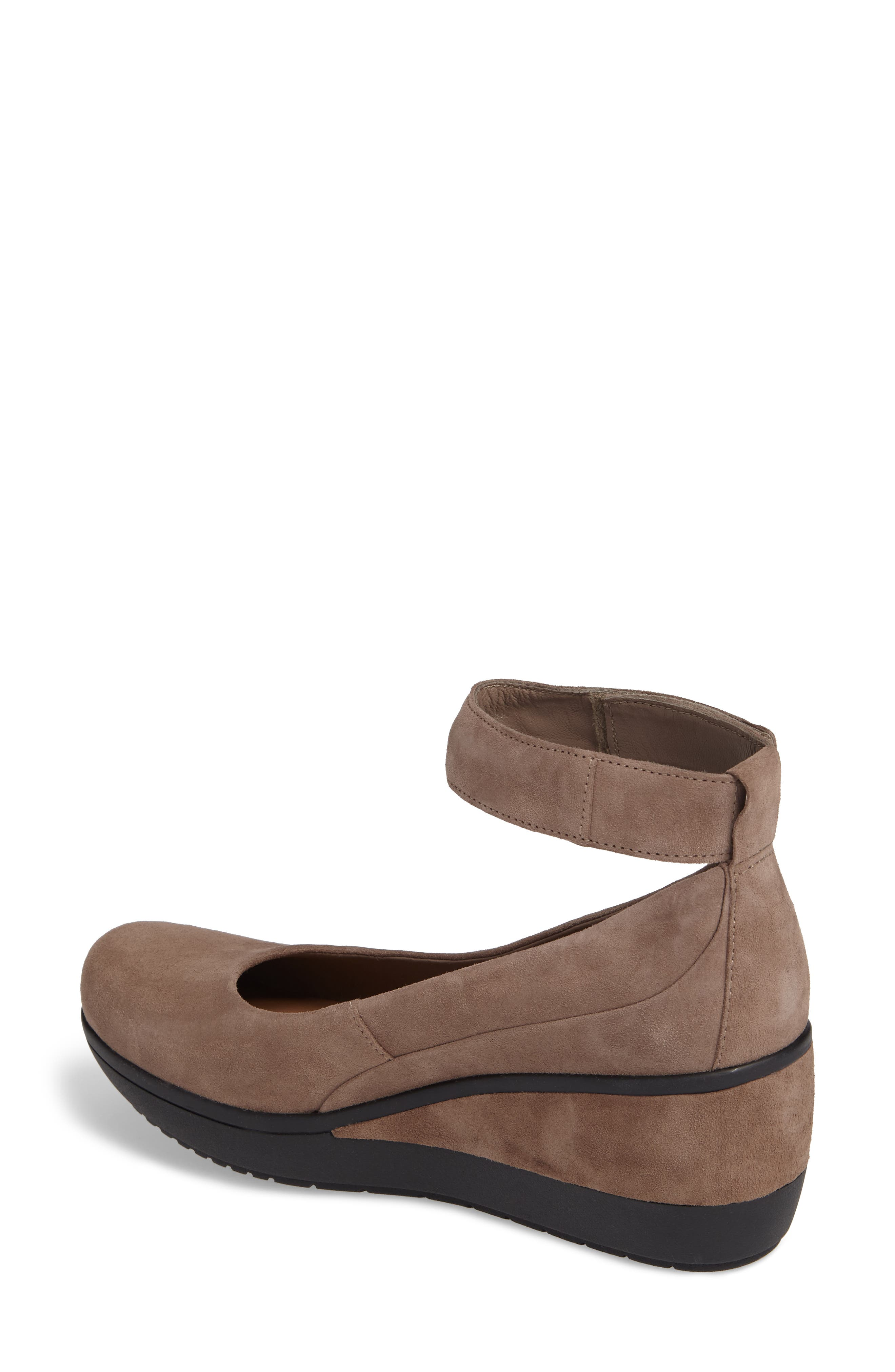 Wynnmere Fox Ankle Strap Pump,                             Alternate thumbnail 2, color,                             Pebble Suede