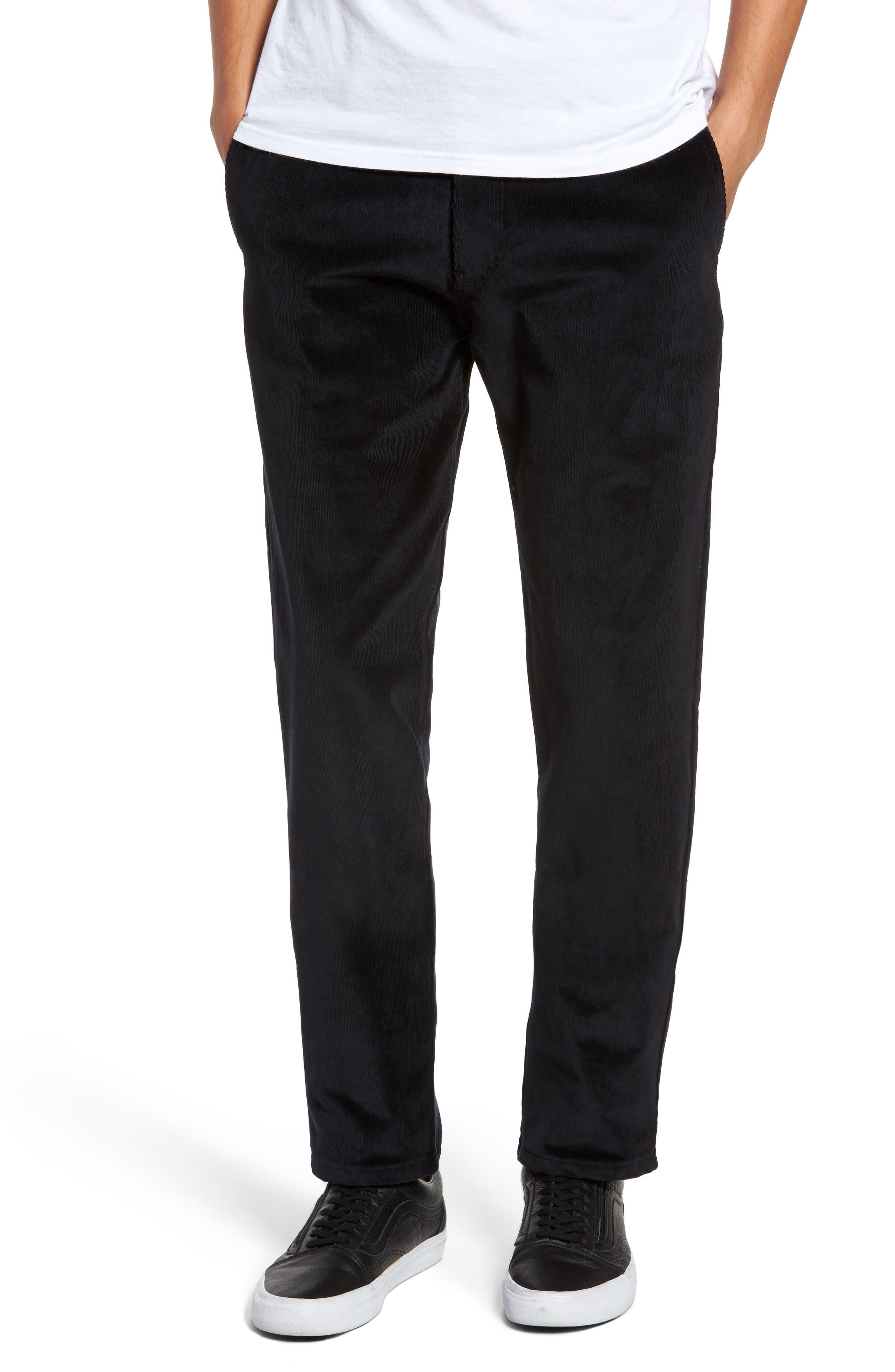 Naked & Famous Slim Chino Slim Fit Corduroy Pants,                             Main thumbnail 1, color,                             Black