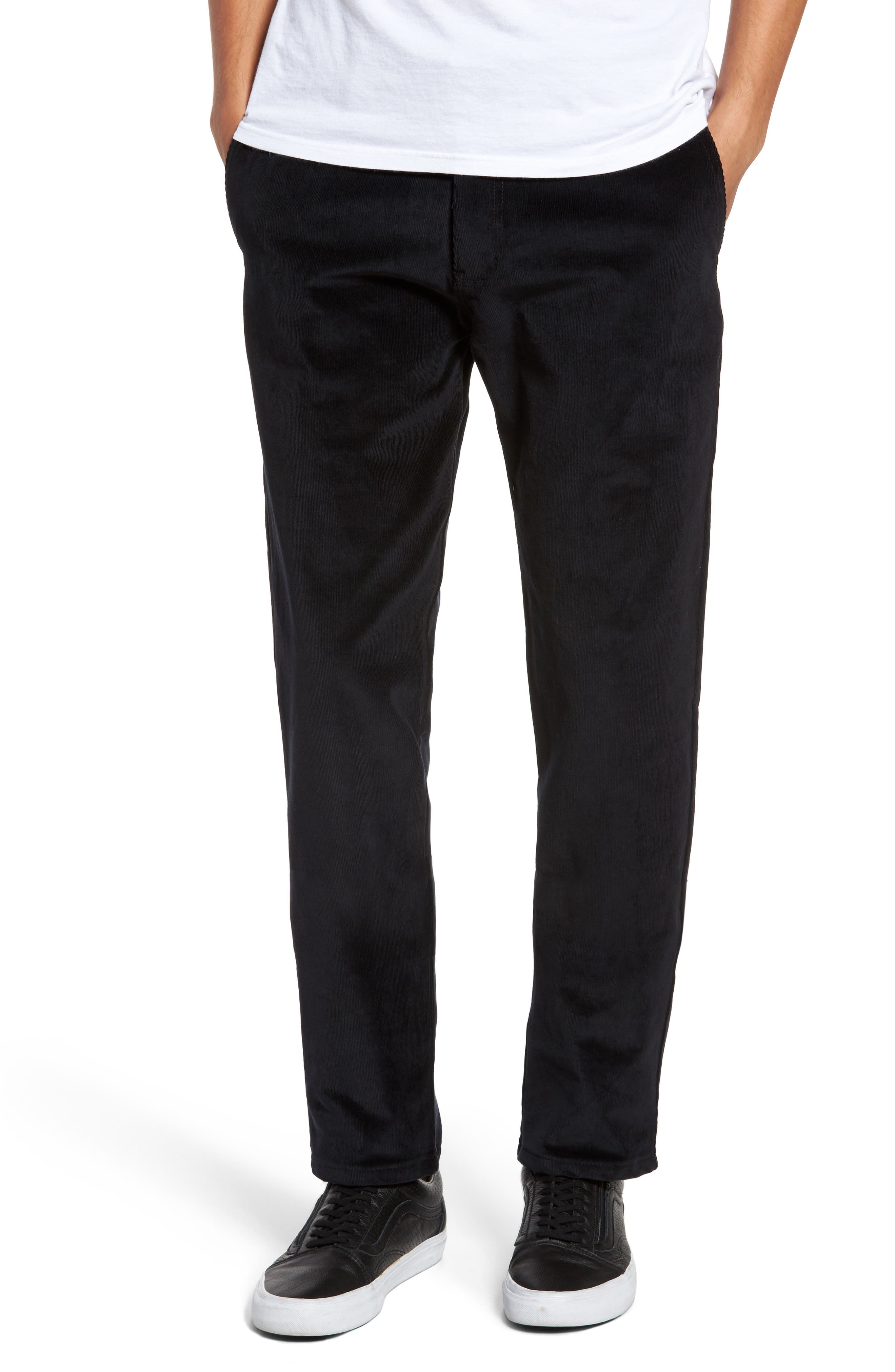 Naked & Famous Slim Chino Slim Fit Corduroy Pants,                         Main,                         color, Black