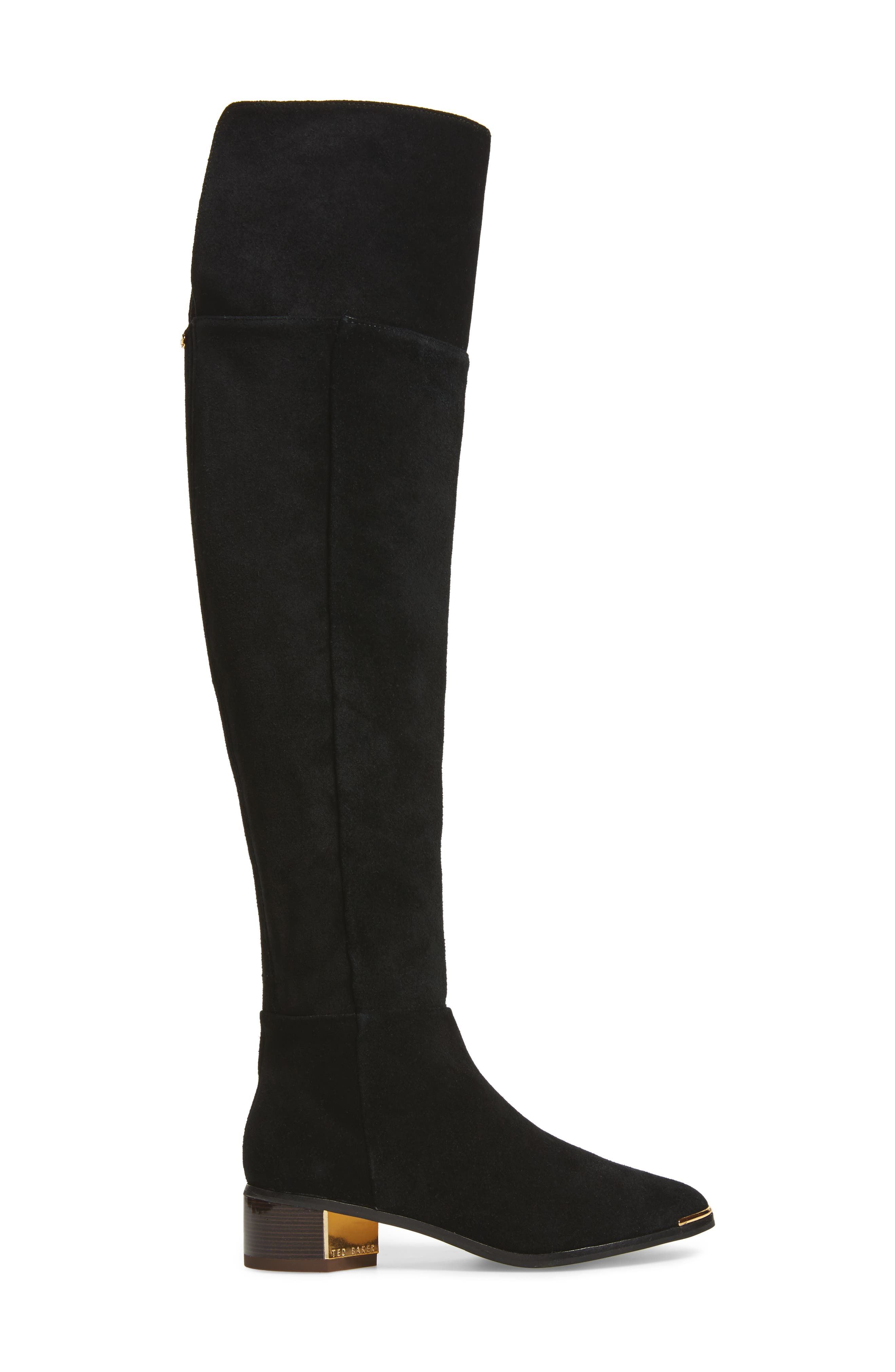 Nayomie Over the Knee Boot,                             Alternate thumbnail 3, color,                             Black Suede