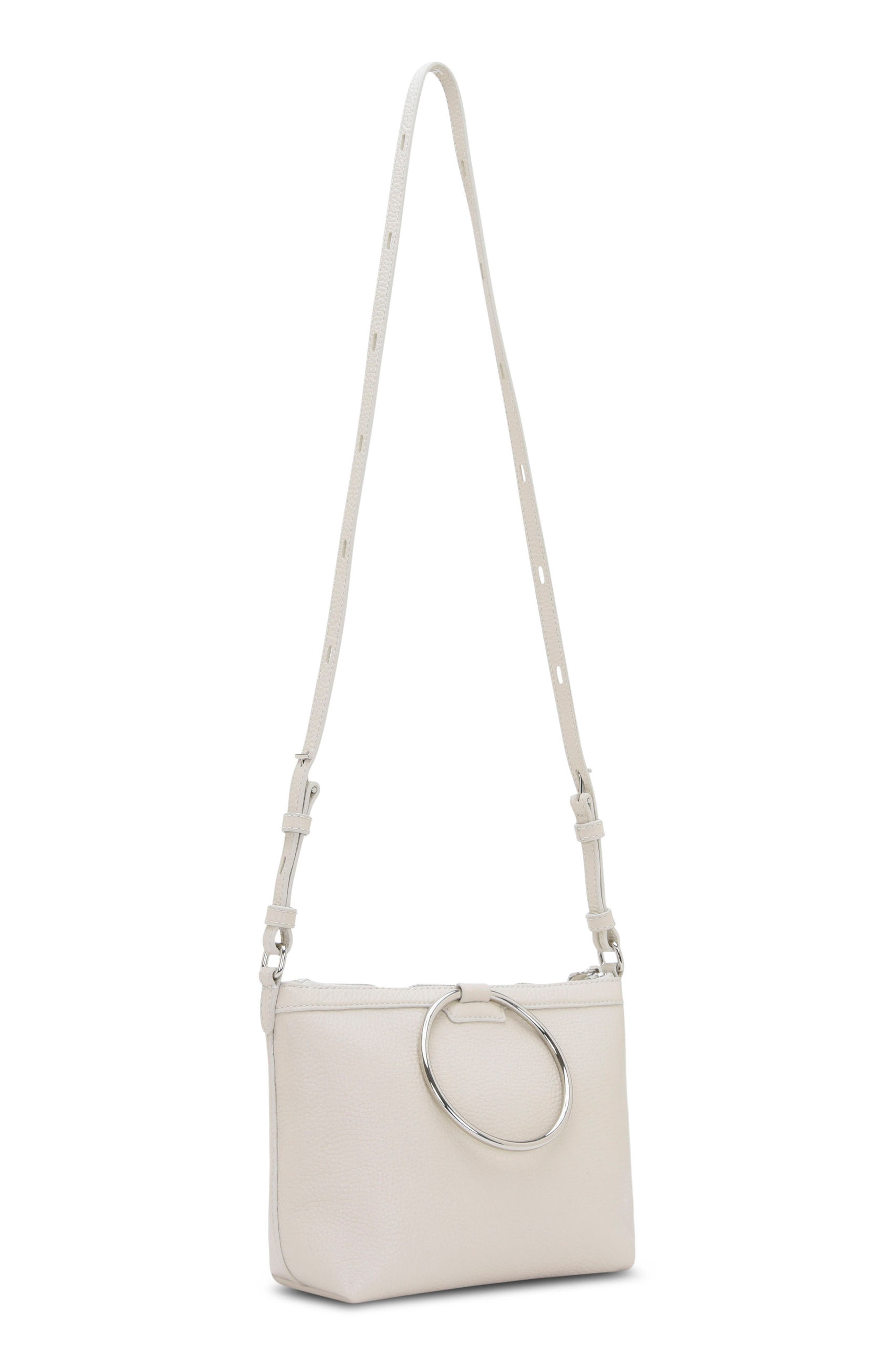 Pebbled Leather Ring Crossbody Bag,                             Alternate thumbnail 2, color,                             Fog