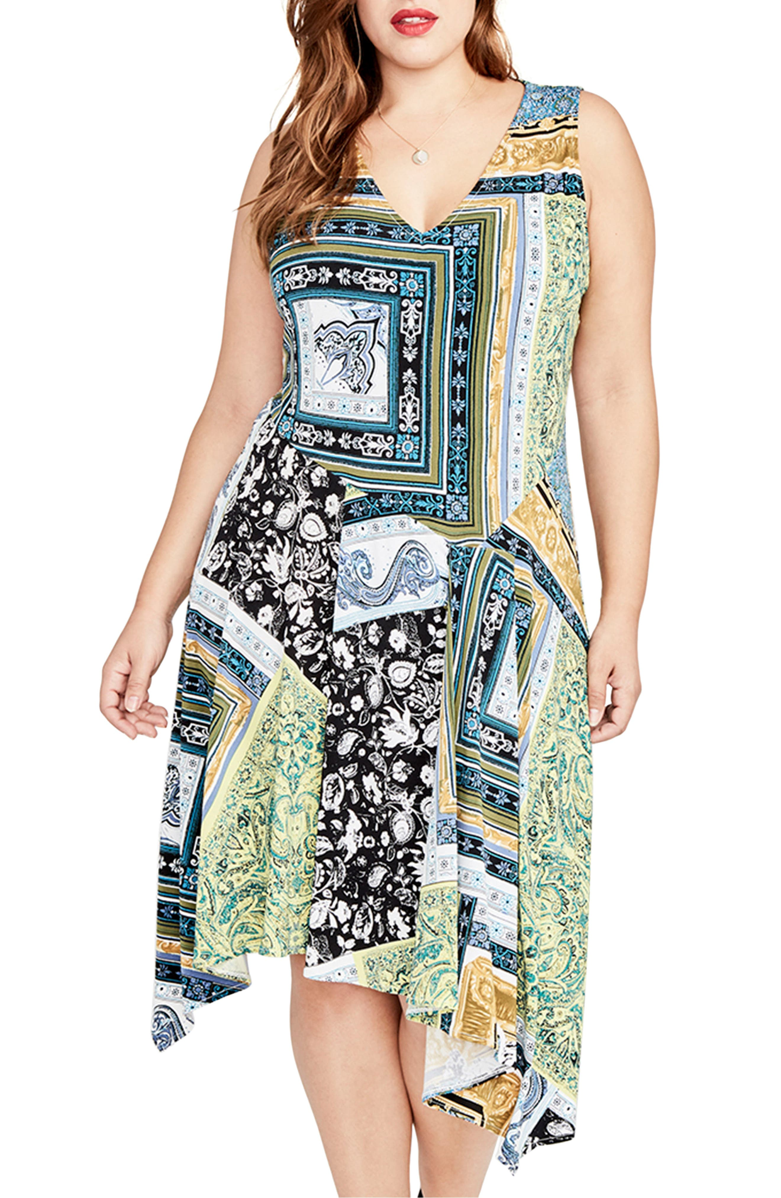 Scarf Print Handkerchief Hem Dress,                         Main,                         color, Citron Combo