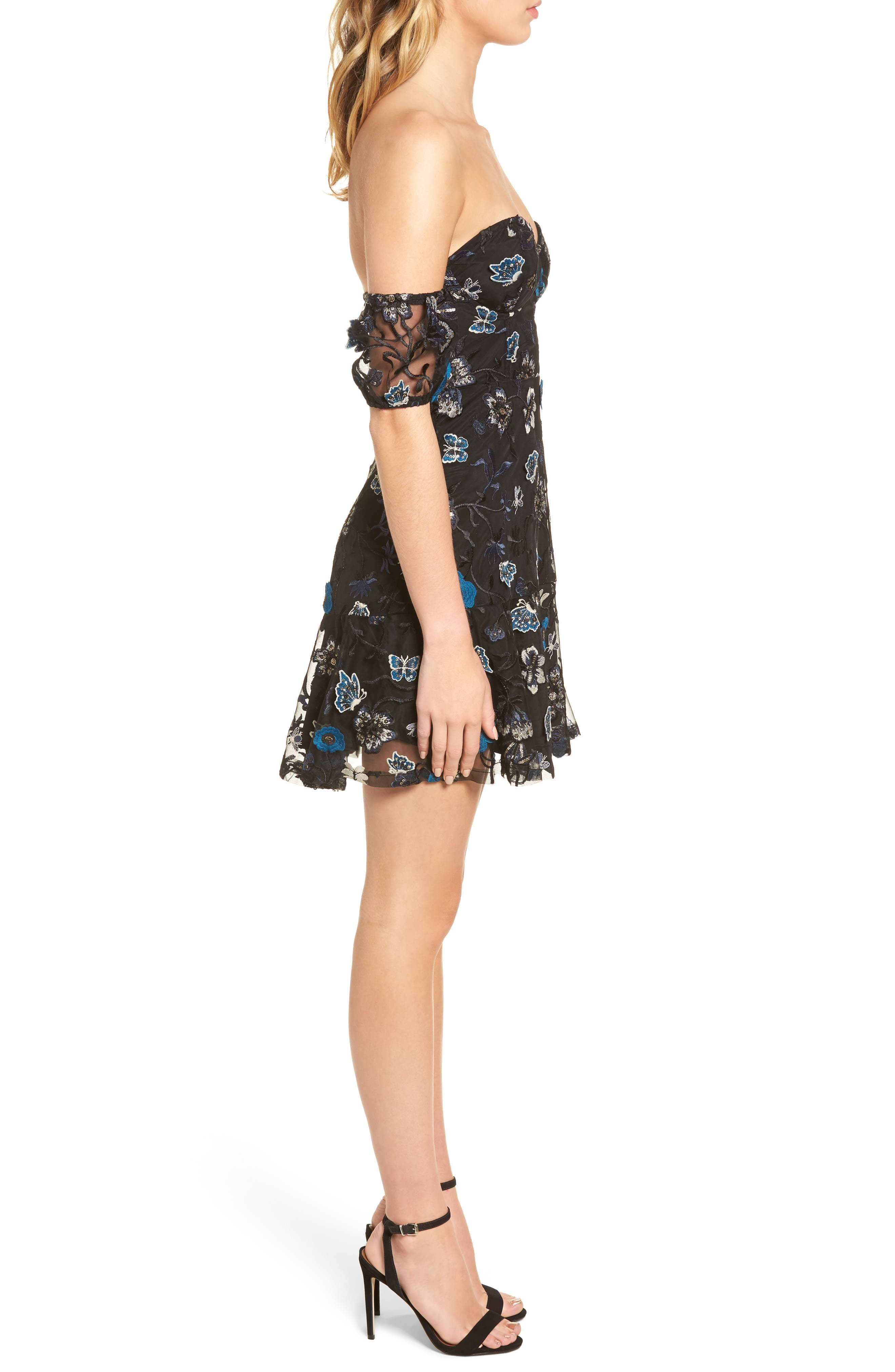 Bontanic Off the Shoulder Dress,                             Alternate thumbnail 3, color,                             Black Floral