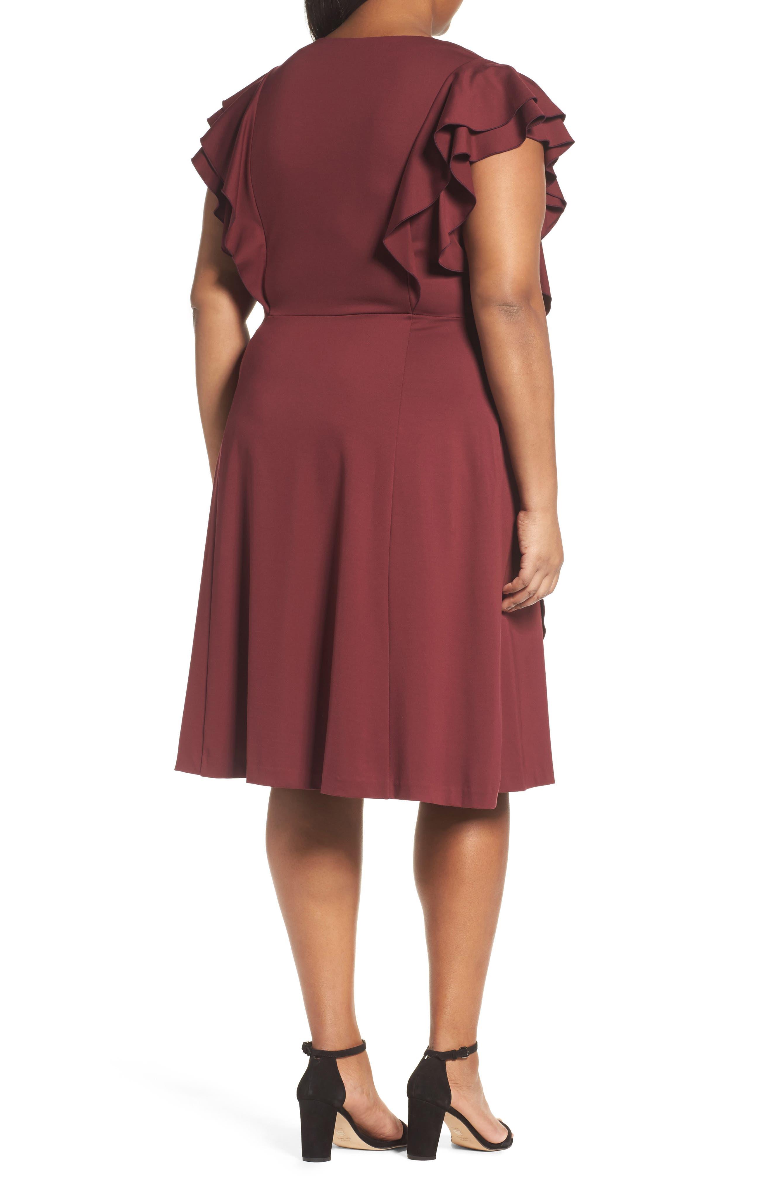 Alternate Image 2  - Sejour Ruffle Ponte Dress (Plus Size)