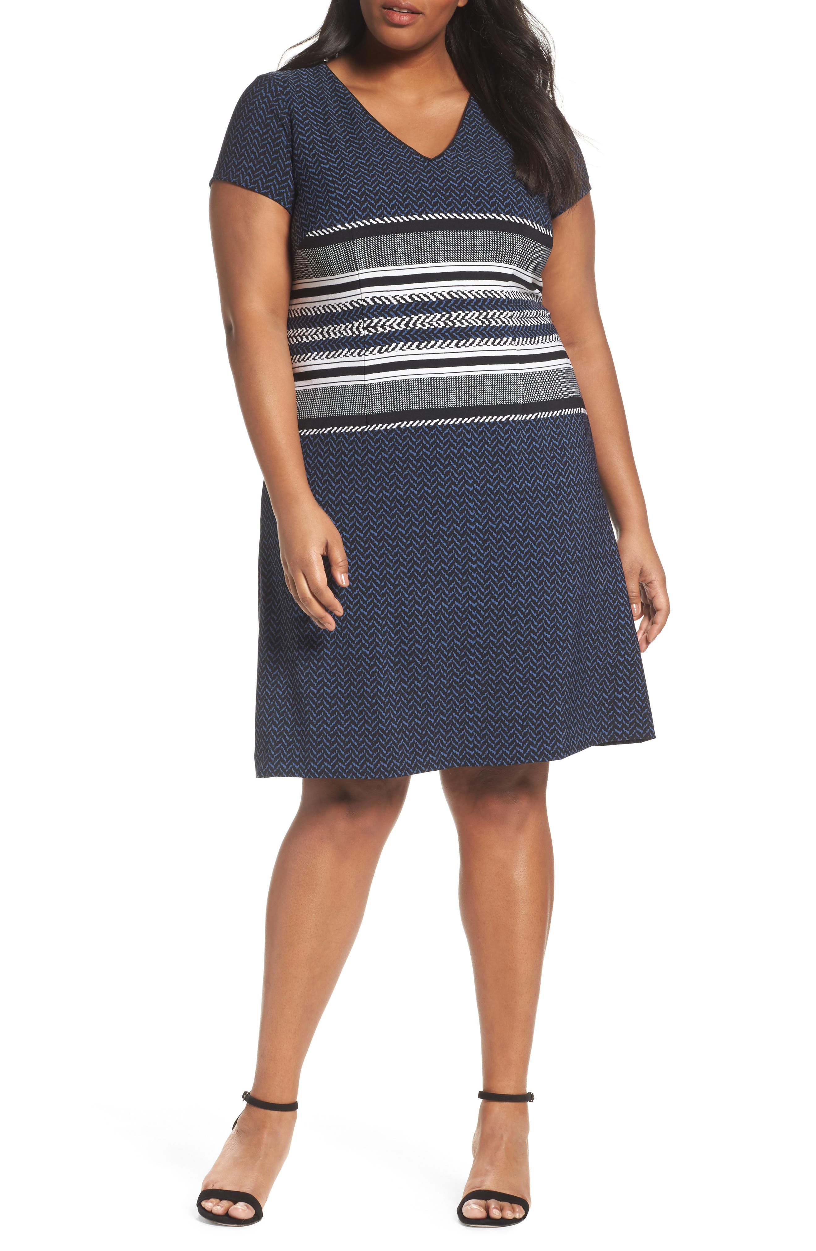 Main Image - Adrianna Papell Herringbone Print Sheath Dress (Plus Size)