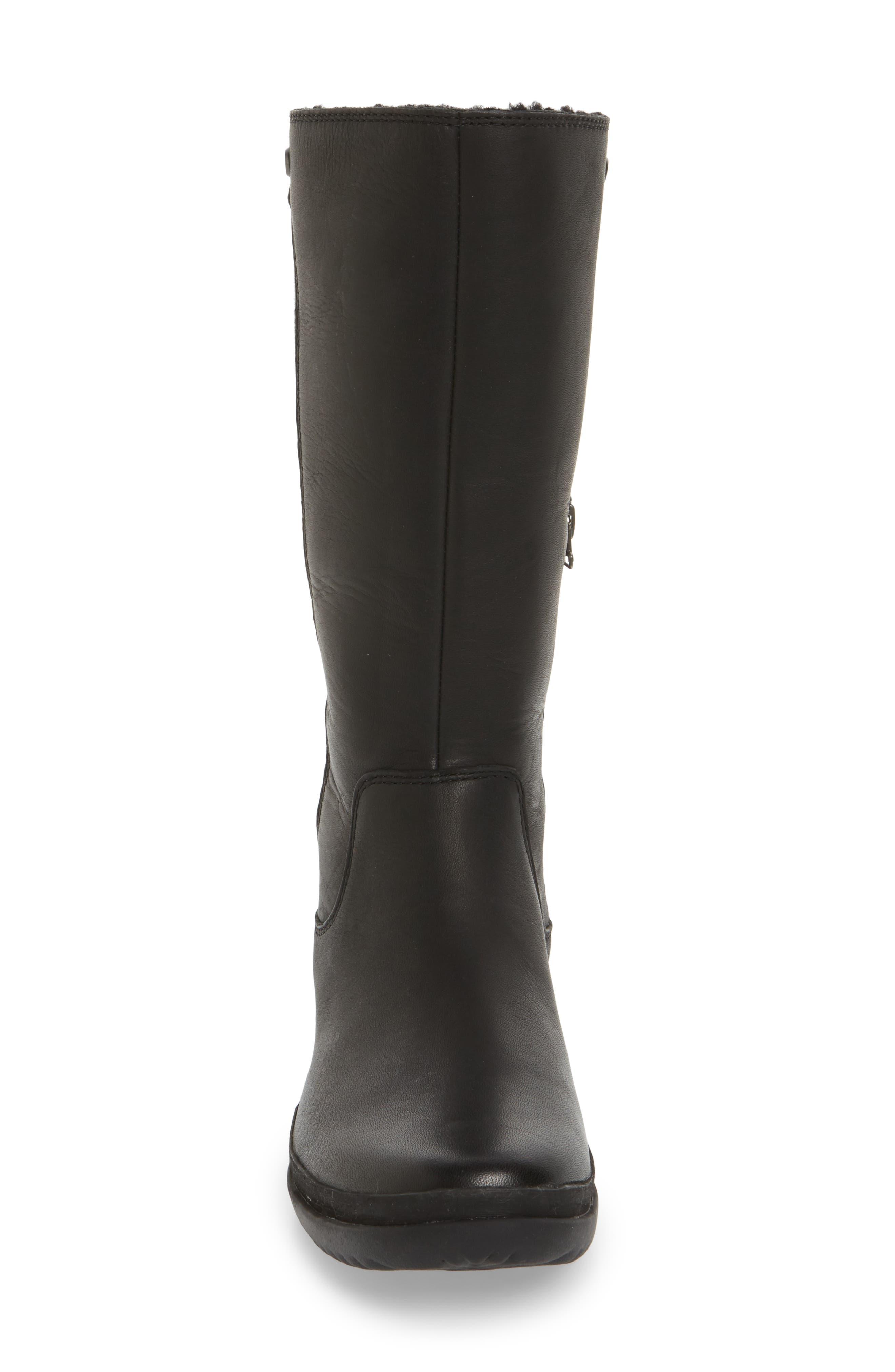 Janina Rain Boot,                             Alternate thumbnail 4, color,                             Black Leather