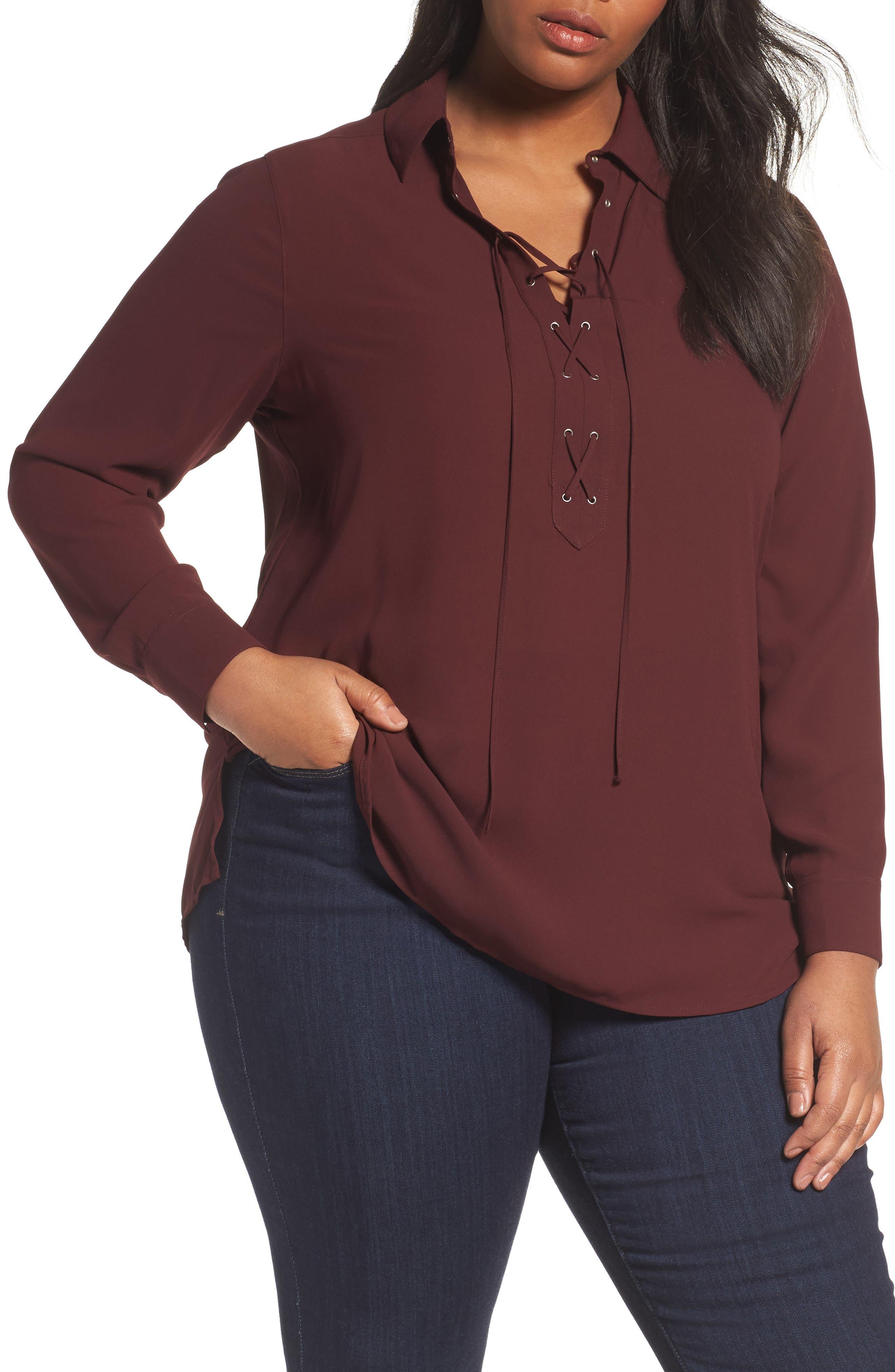 Foxcroft Lace-Up Blouse (Plus Size)