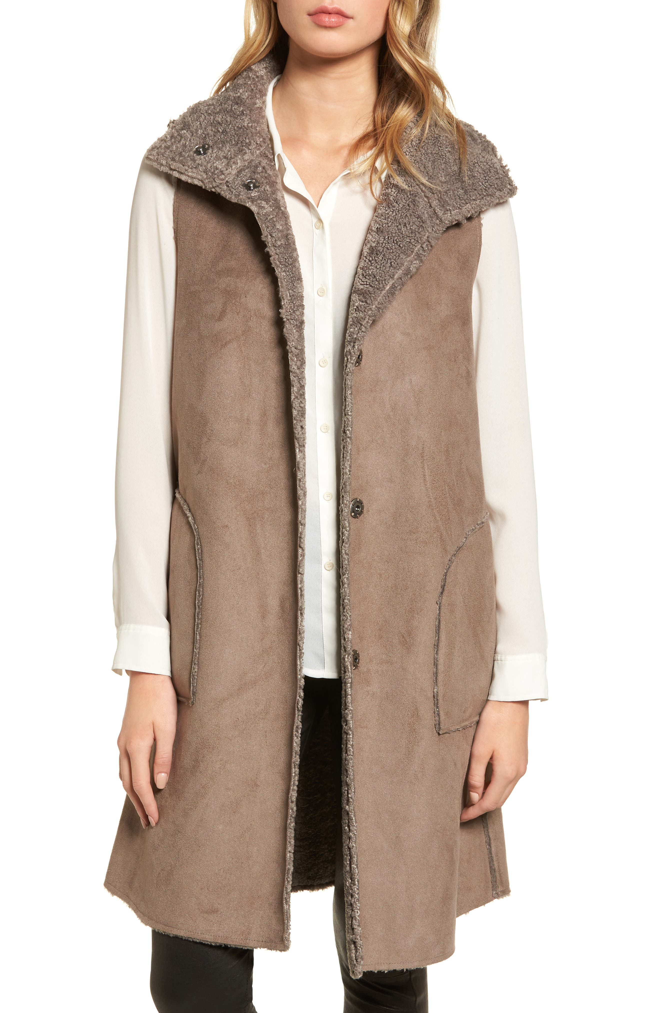 Velvet Reversible Faux Shearling Vest,                             Main thumbnail 1, color,                             Brown/ Brown