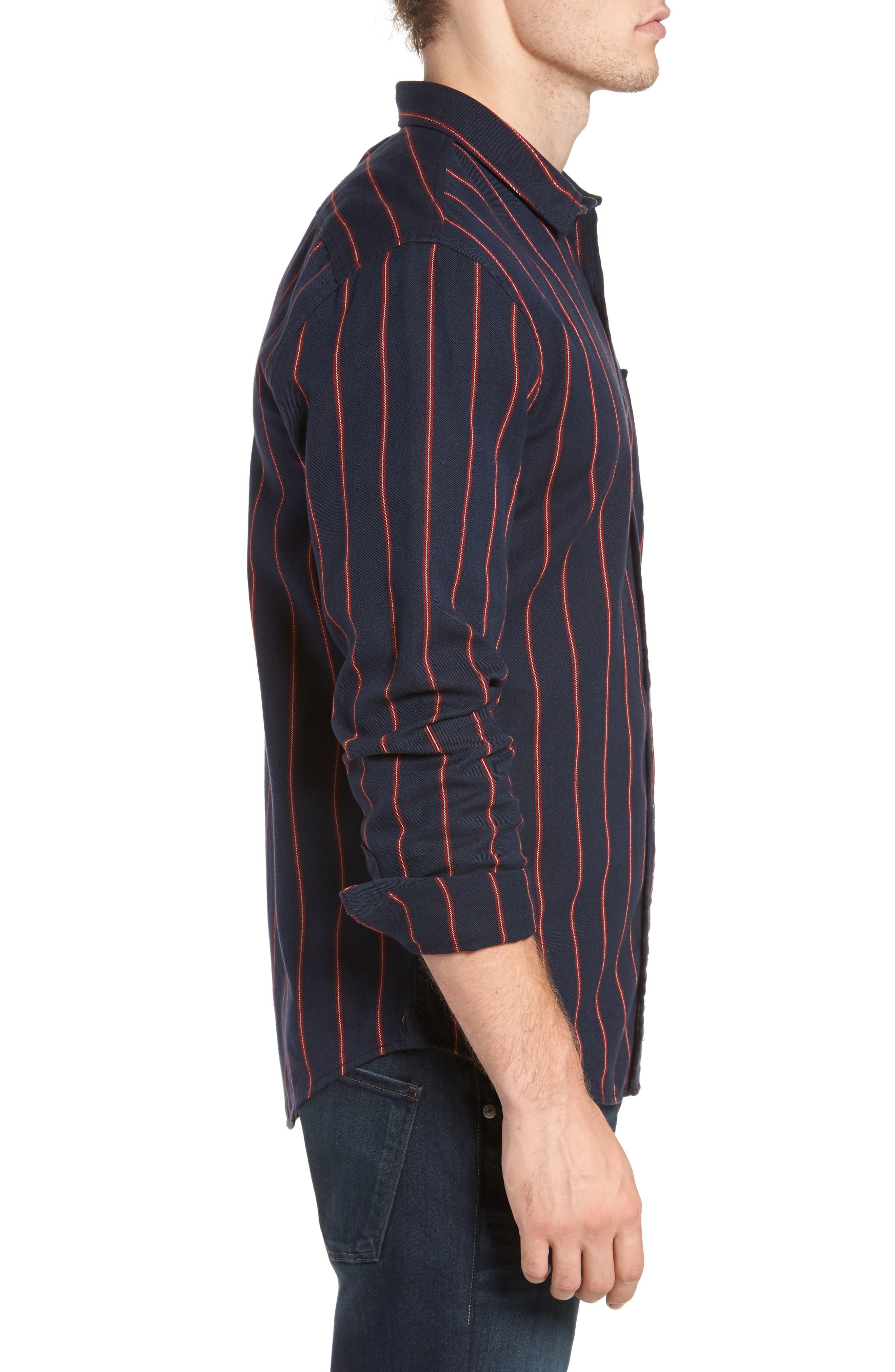 The Rail Long Sleeve Twill Shirt,                             Alternate thumbnail 3, color,                             Navy Peacoat Red Stripe