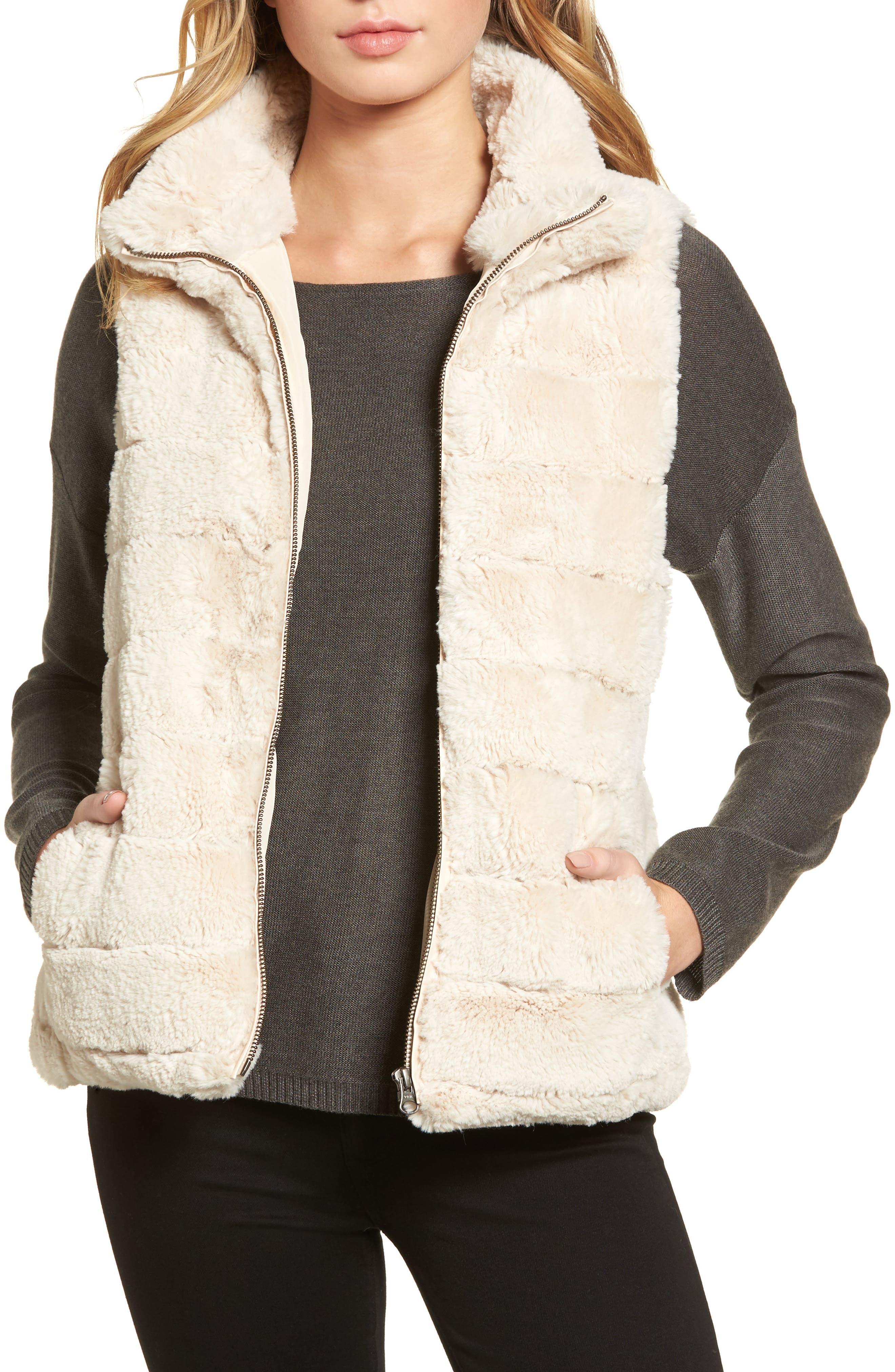 Love Faux Fur Vest,                             Main thumbnail 1, color,                             Ivory