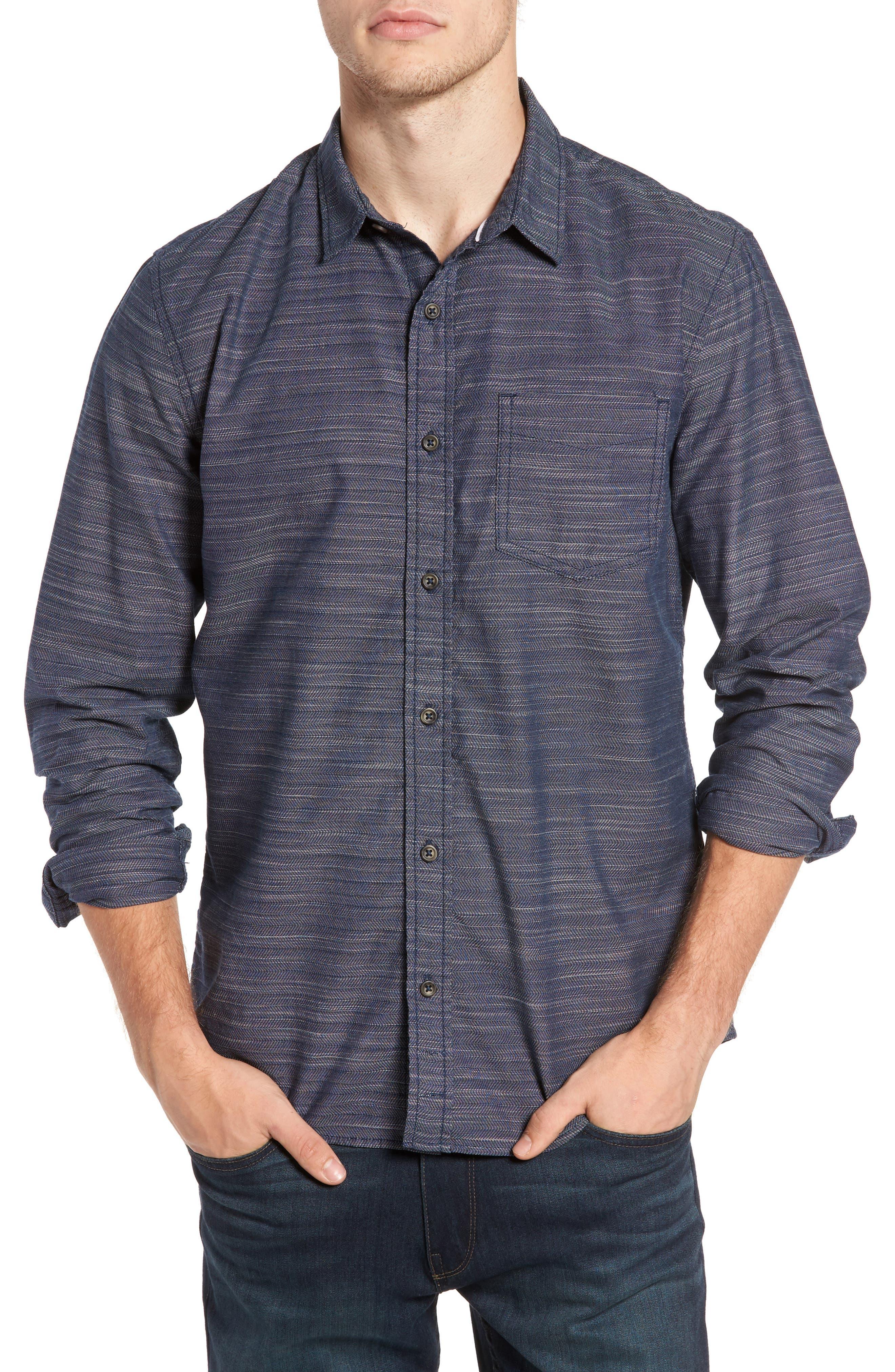 Herringbone Chambray Shirt,                         Main,                         color, Navy Charcoal Herringbone