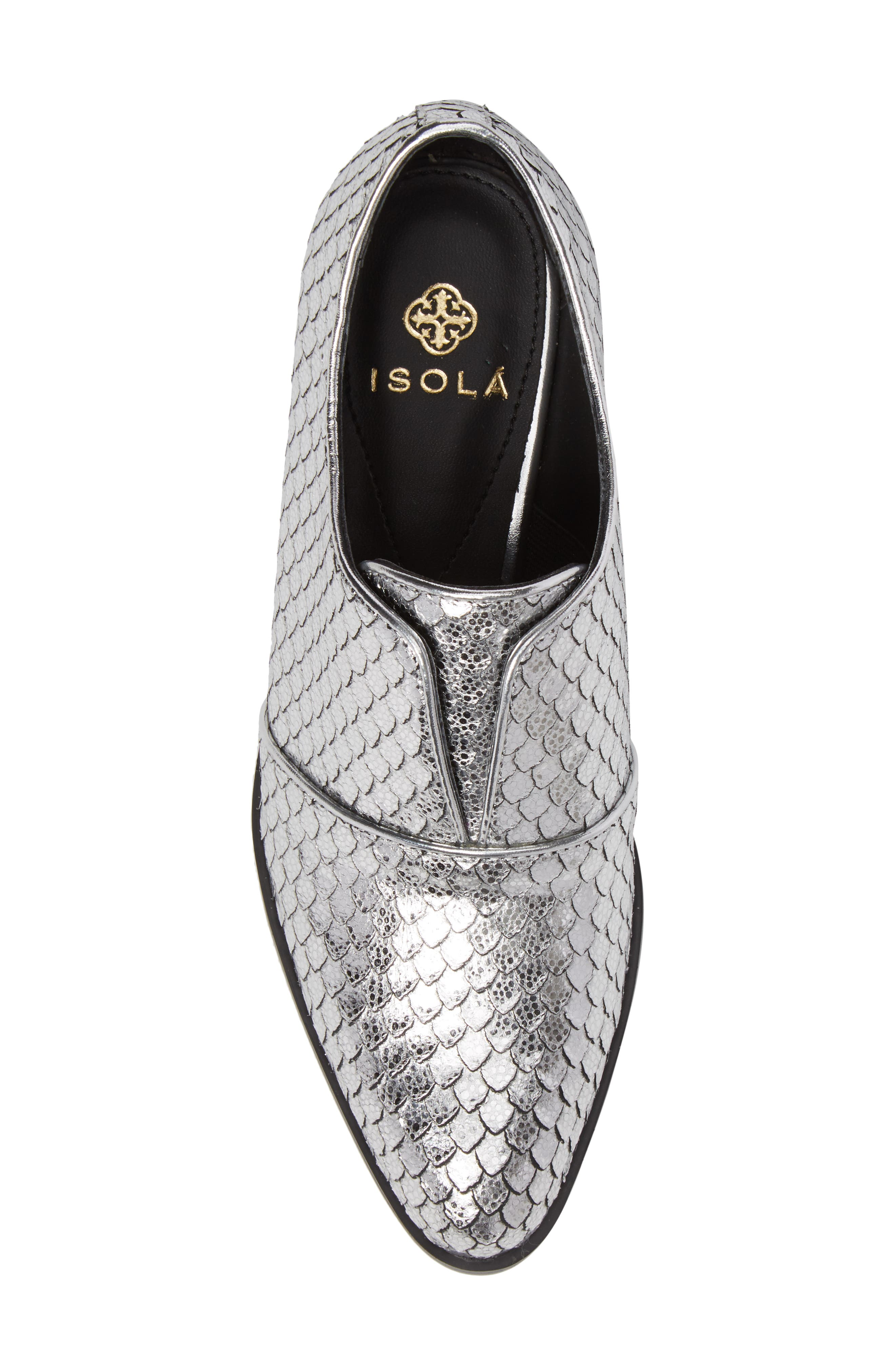 Isola Maria Slip-On Oxford,                             Alternate thumbnail 5, color,                             Silver Cut Snake Print Leather