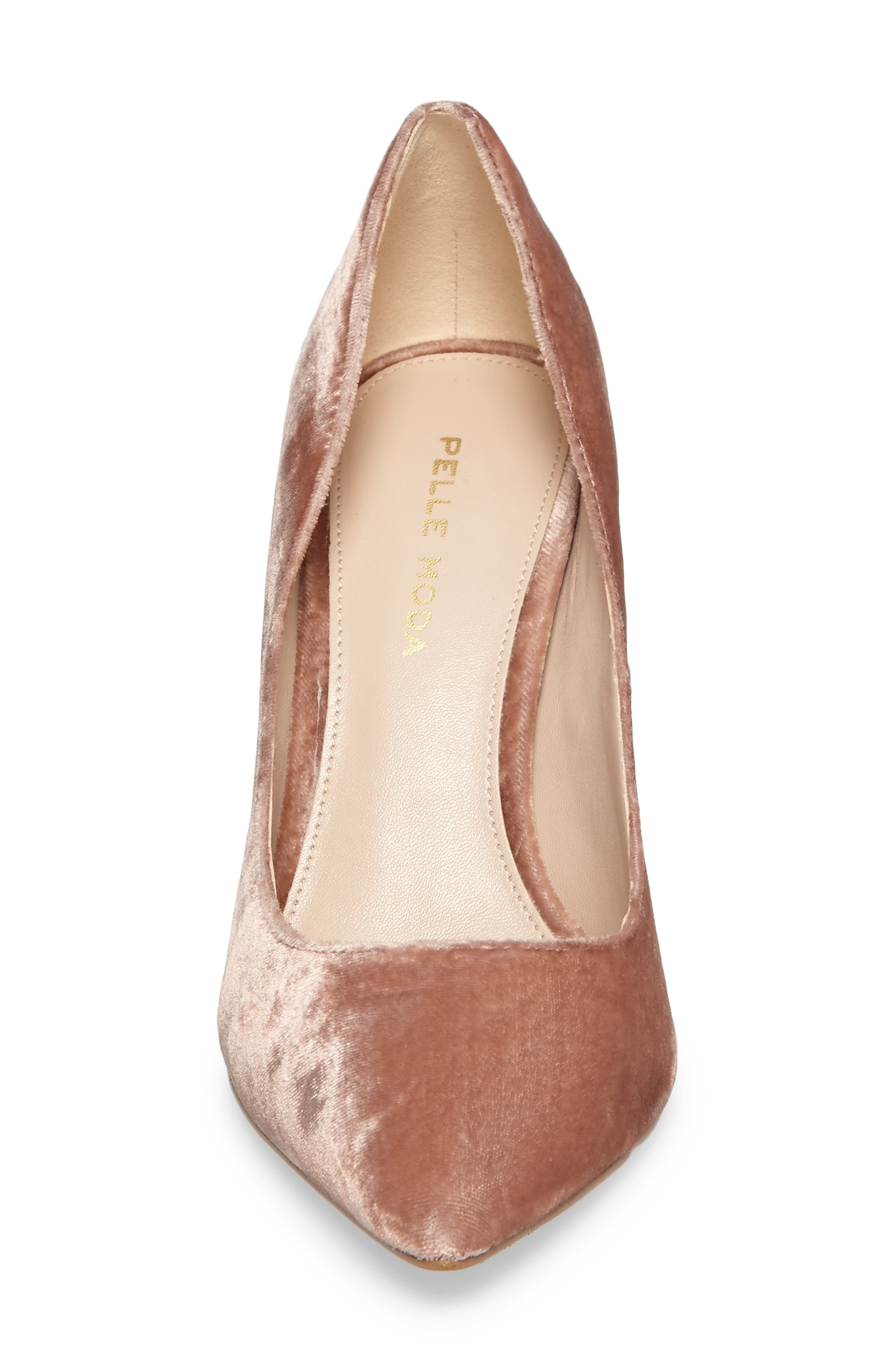 Vally2 Pointy Toe Pump,                             Alternate thumbnail 4, color,                             Blush Fabric