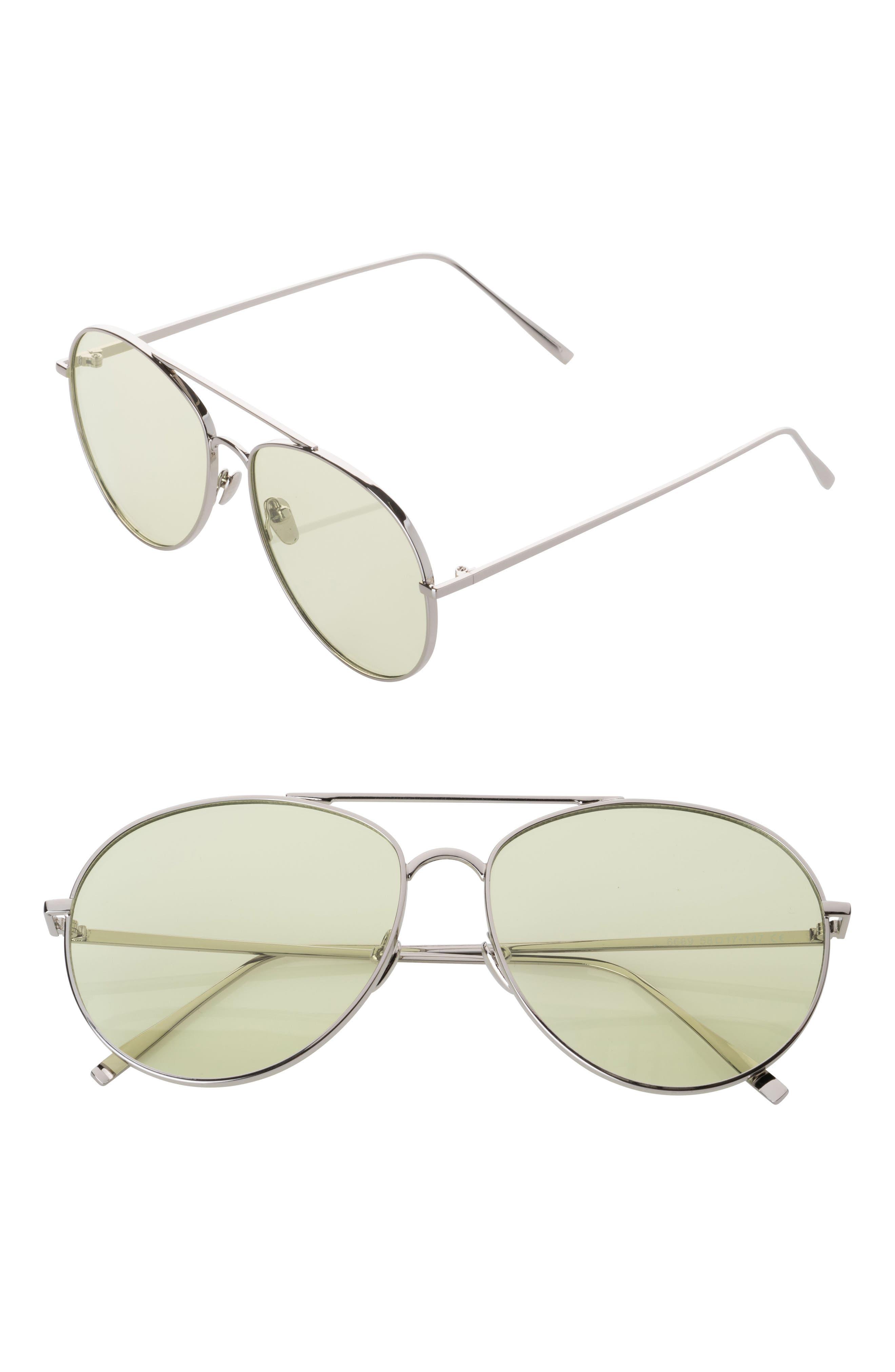 Aviator Sunglasses,                         Main,                         color, Yellow/ Silver
