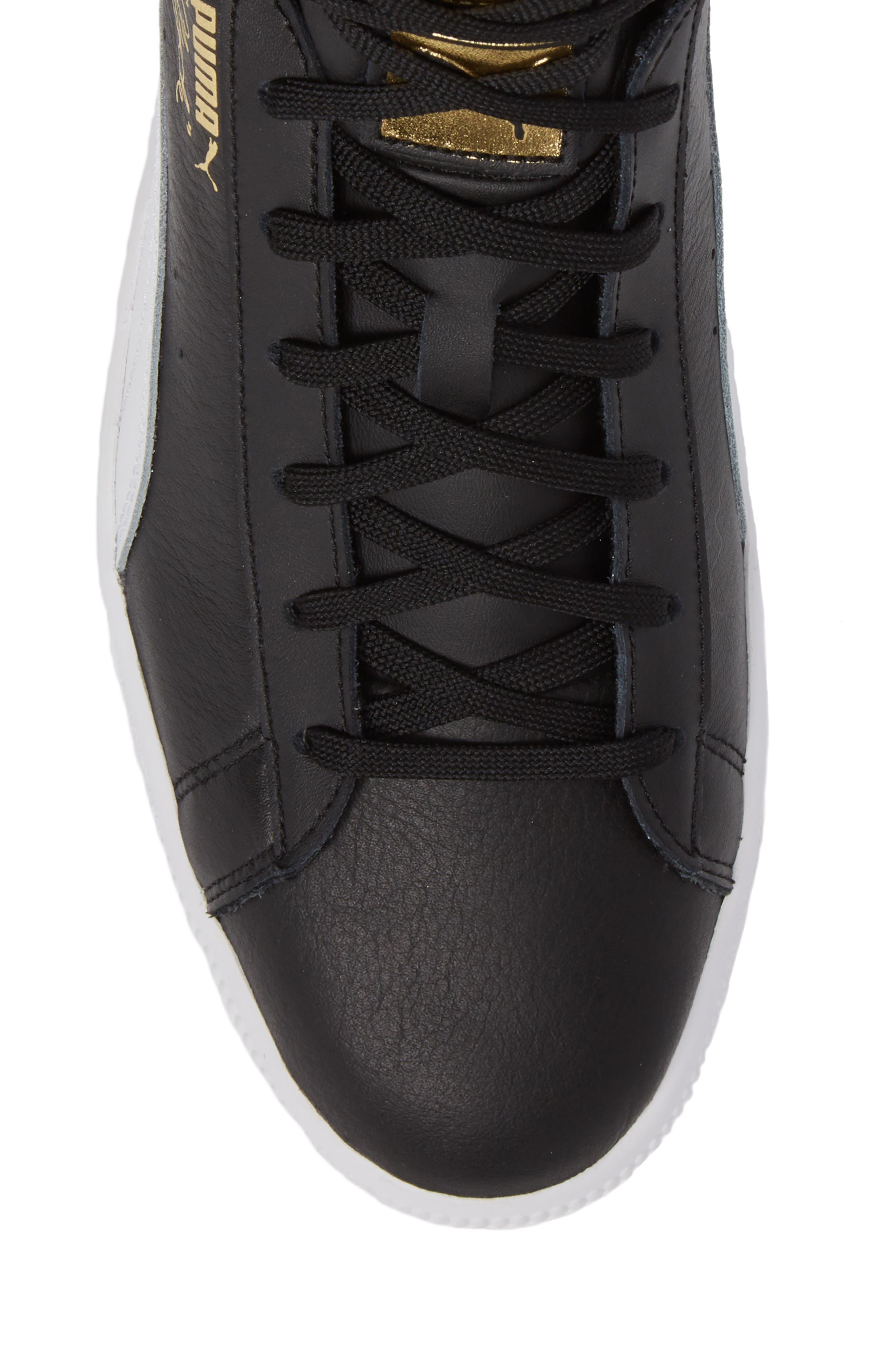 Clyde Mid Sneaker,                             Alternate thumbnail 5, color,                             Black/ White