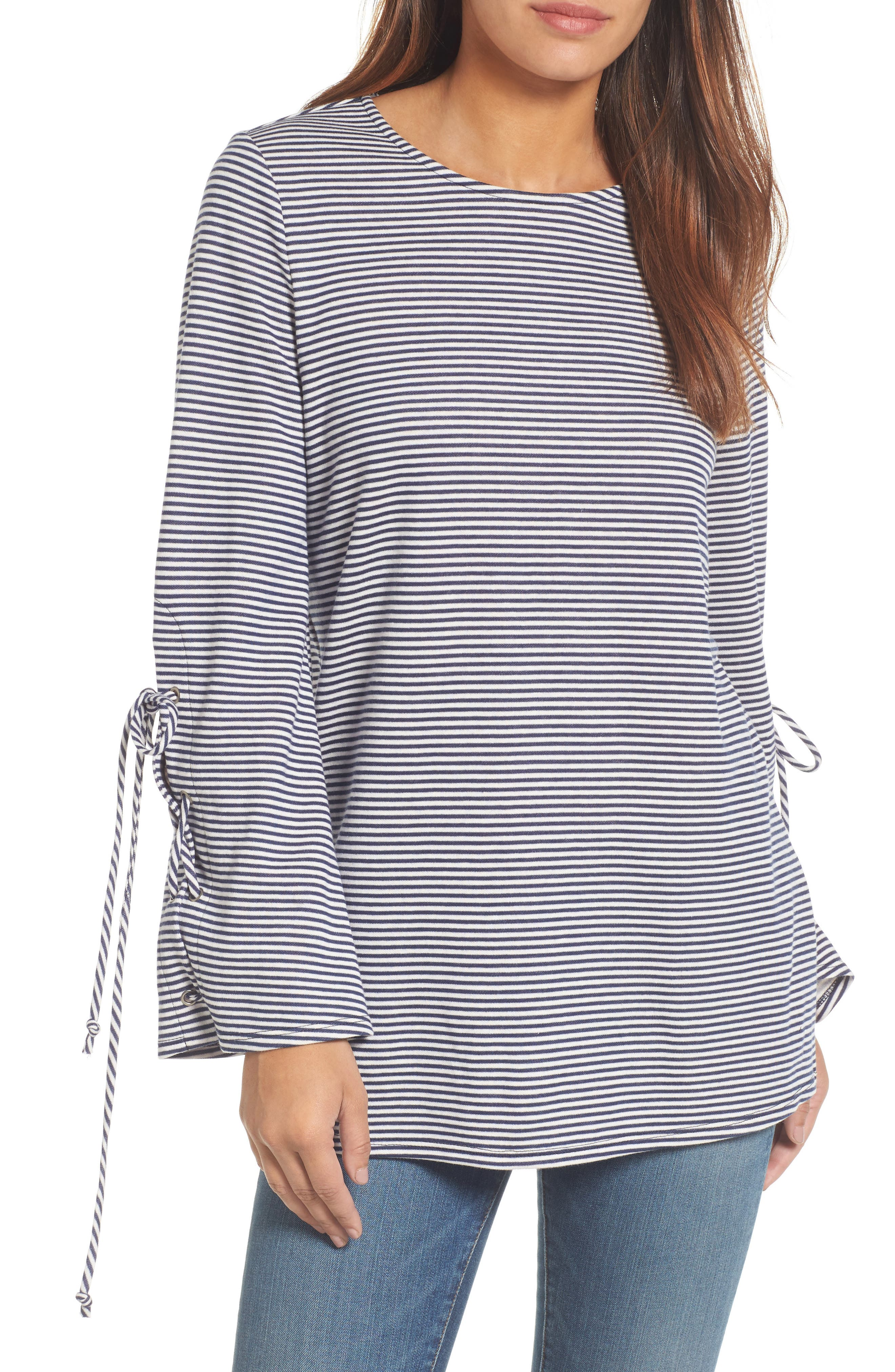 Main Image - Halogen® Terry Tie Sleeve Tunic (Regular & Petite)