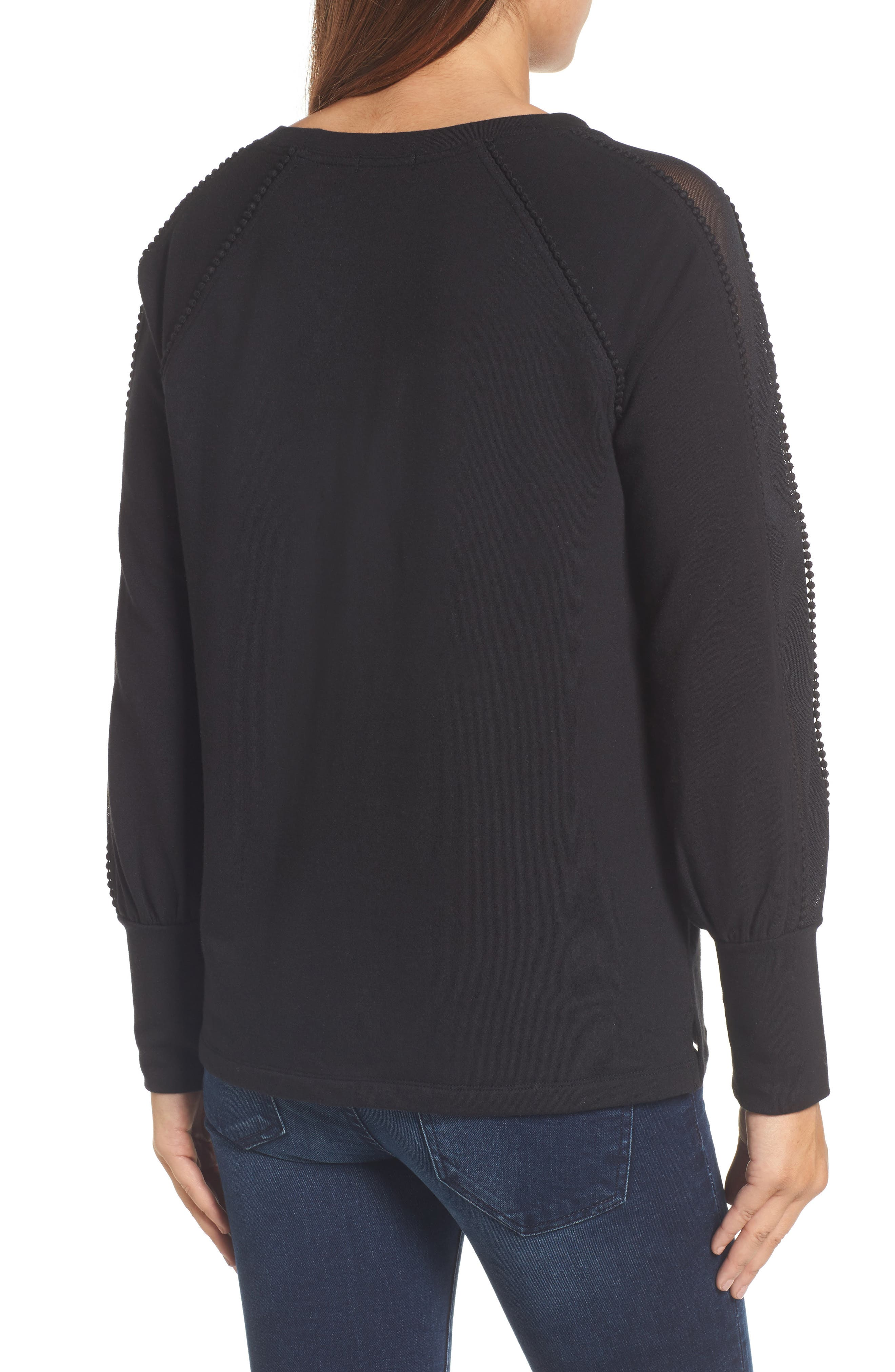 Mesh Inset Sleeve Sweatshirt,                             Alternate thumbnail 2, color,                             Black
