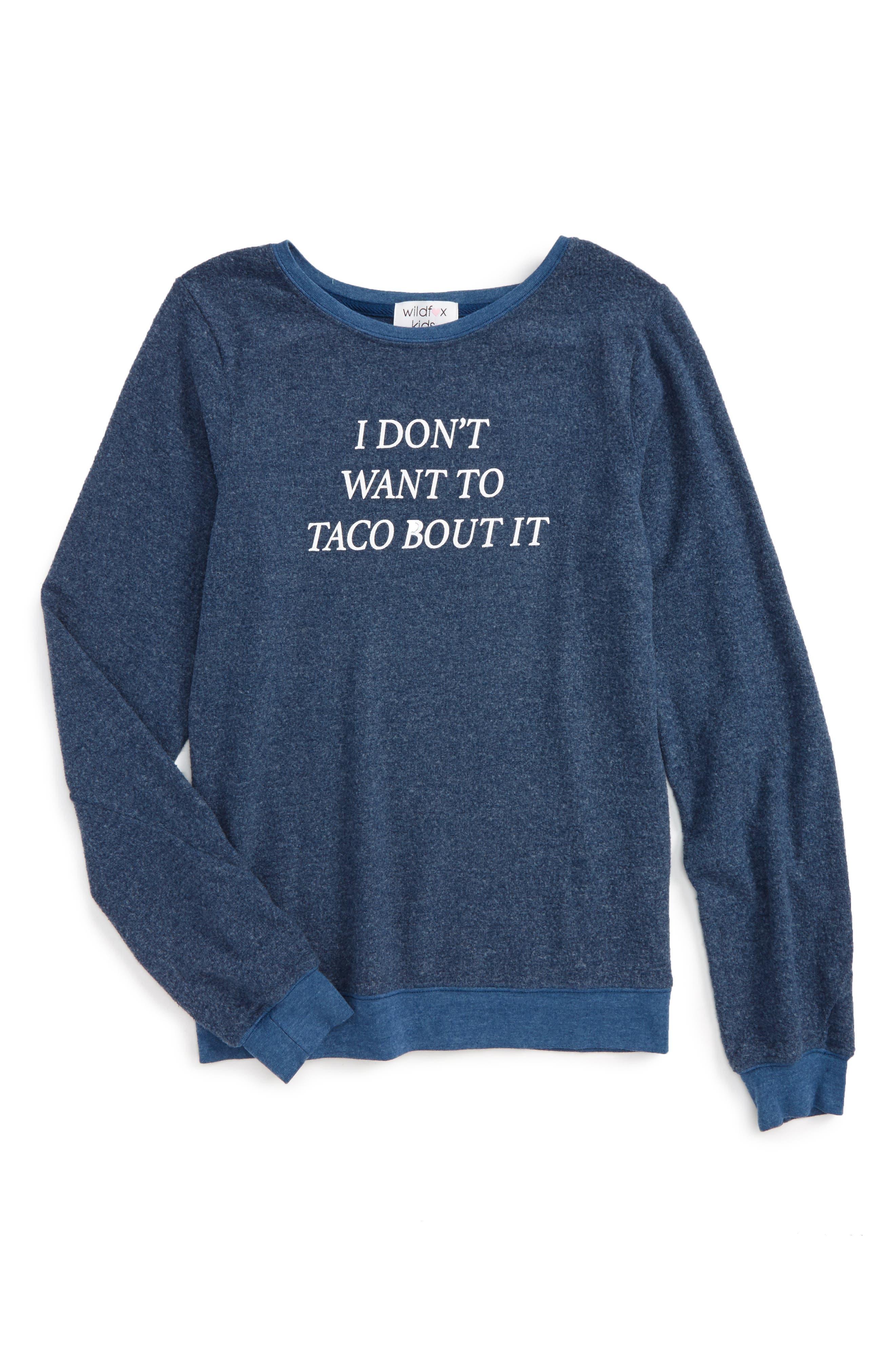 Baggy Beach Jumper - Taco Talk Pullover,                         Main,                         color, Galaxy Blue