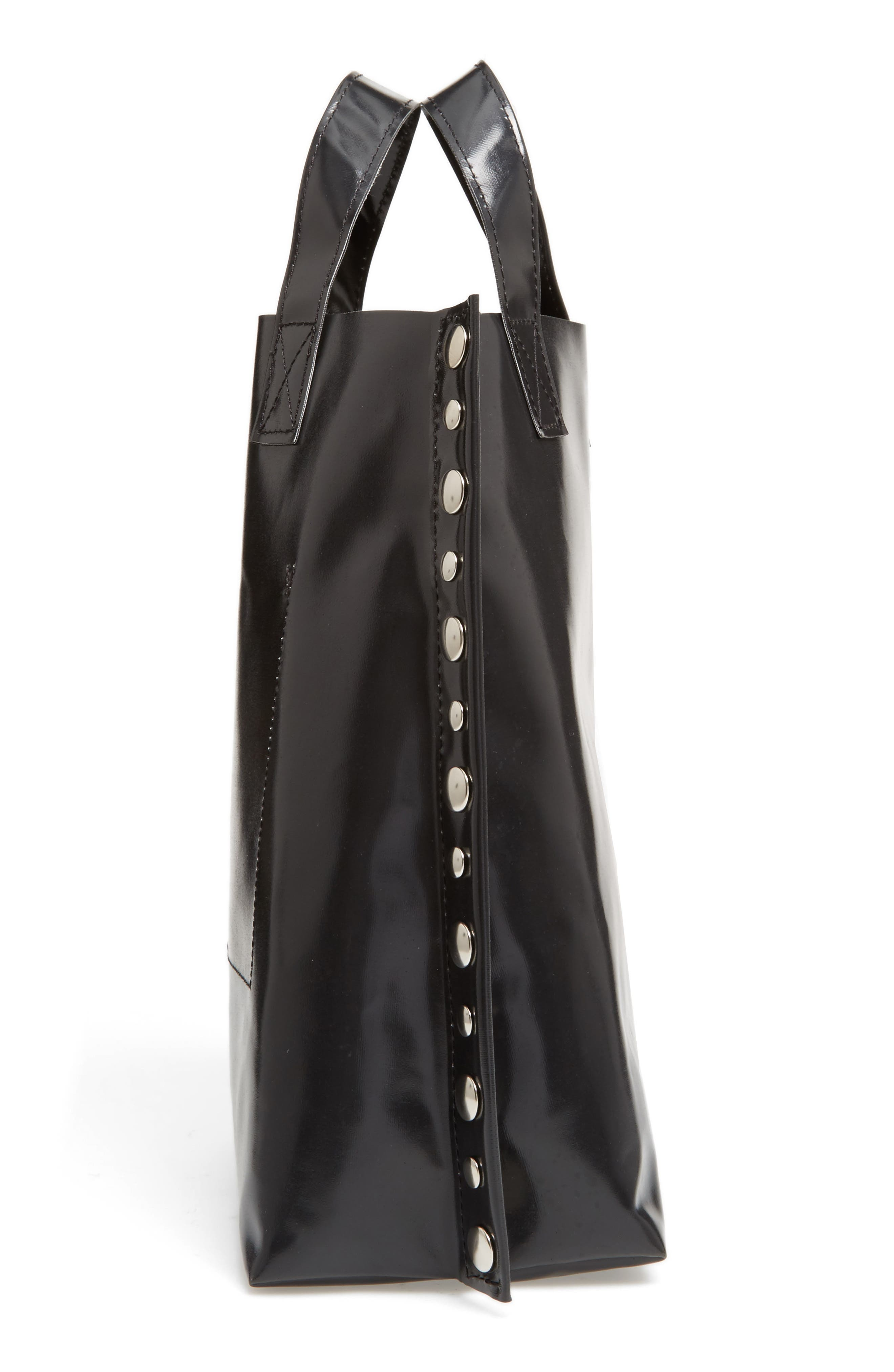 Studded Faux Leather Tote,                             Alternate thumbnail 5, color,                             Black