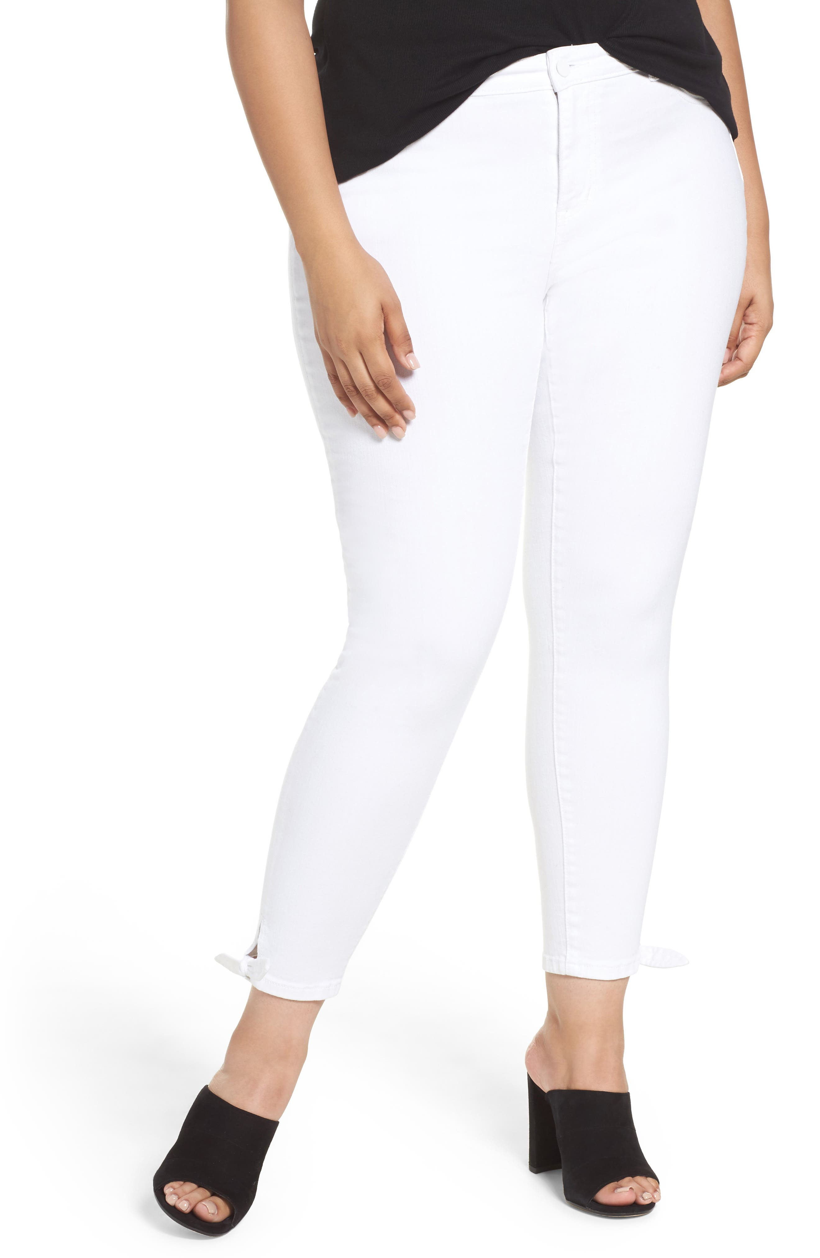 Caslon® Tie Ankle Skinny Jeans (Plus Size)