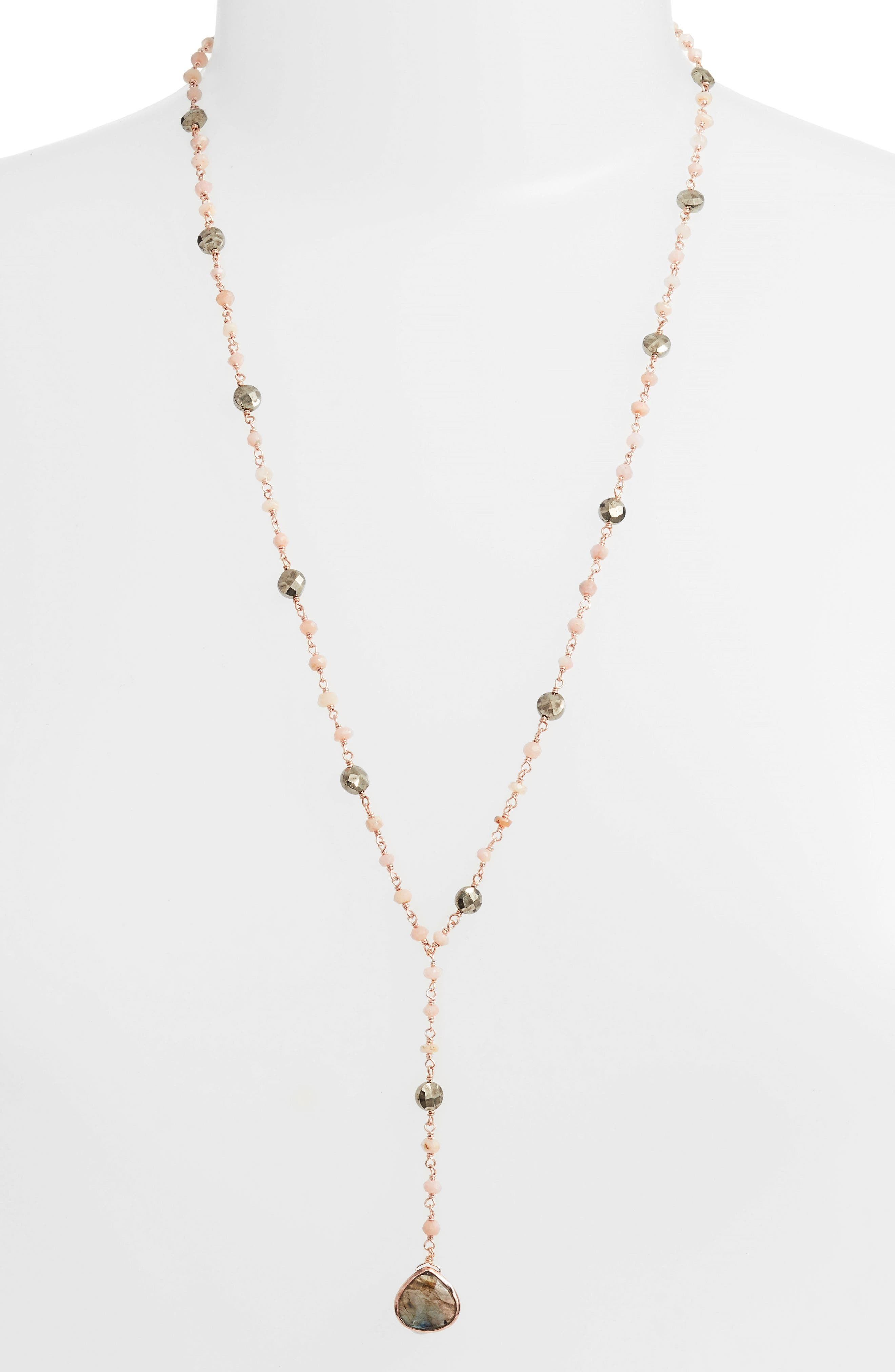 Yaeli Semiprecious Y-Necklace,                             Alternate thumbnail 2, color,                             Pink Opal/ Labradorite