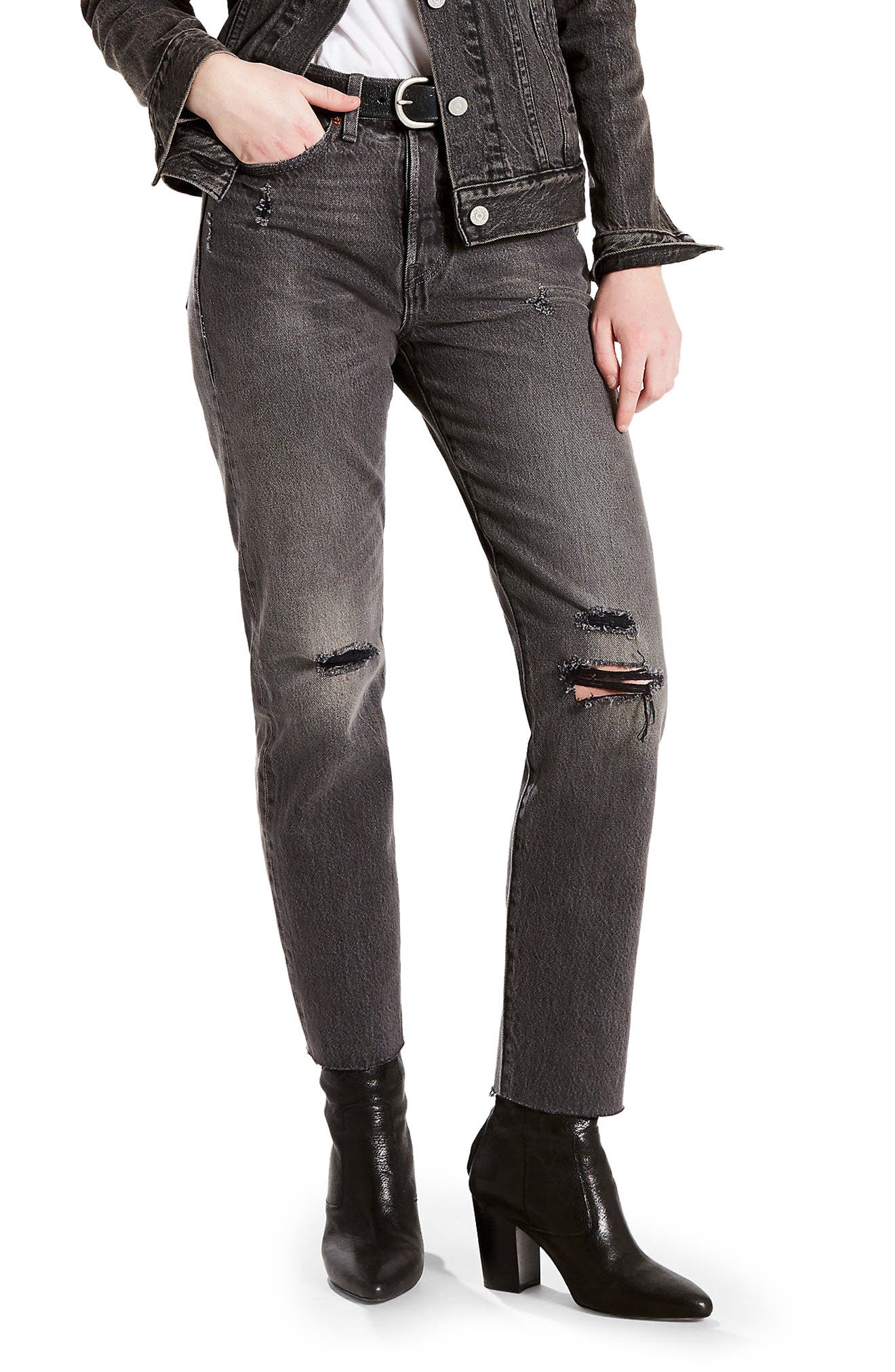 Alternate Image 1 Selected - Levi's® Wedgie Icon Distressed Straight Leg Jeans (Grey Tumble)