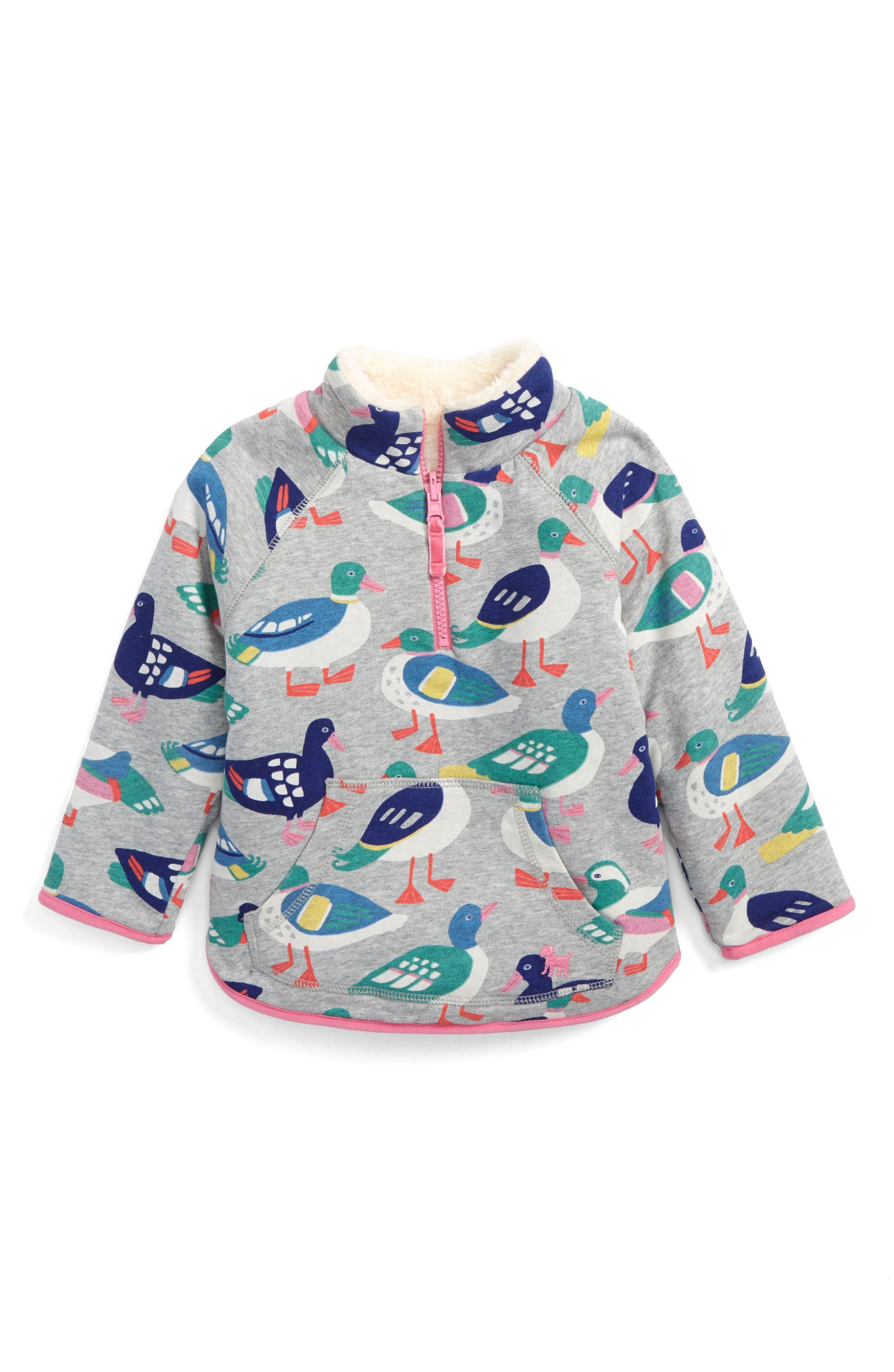 Mini Boden Teddy Bear Reversible Half Zip Pullover (Toddler Girls, Little Girls & Big Girls)