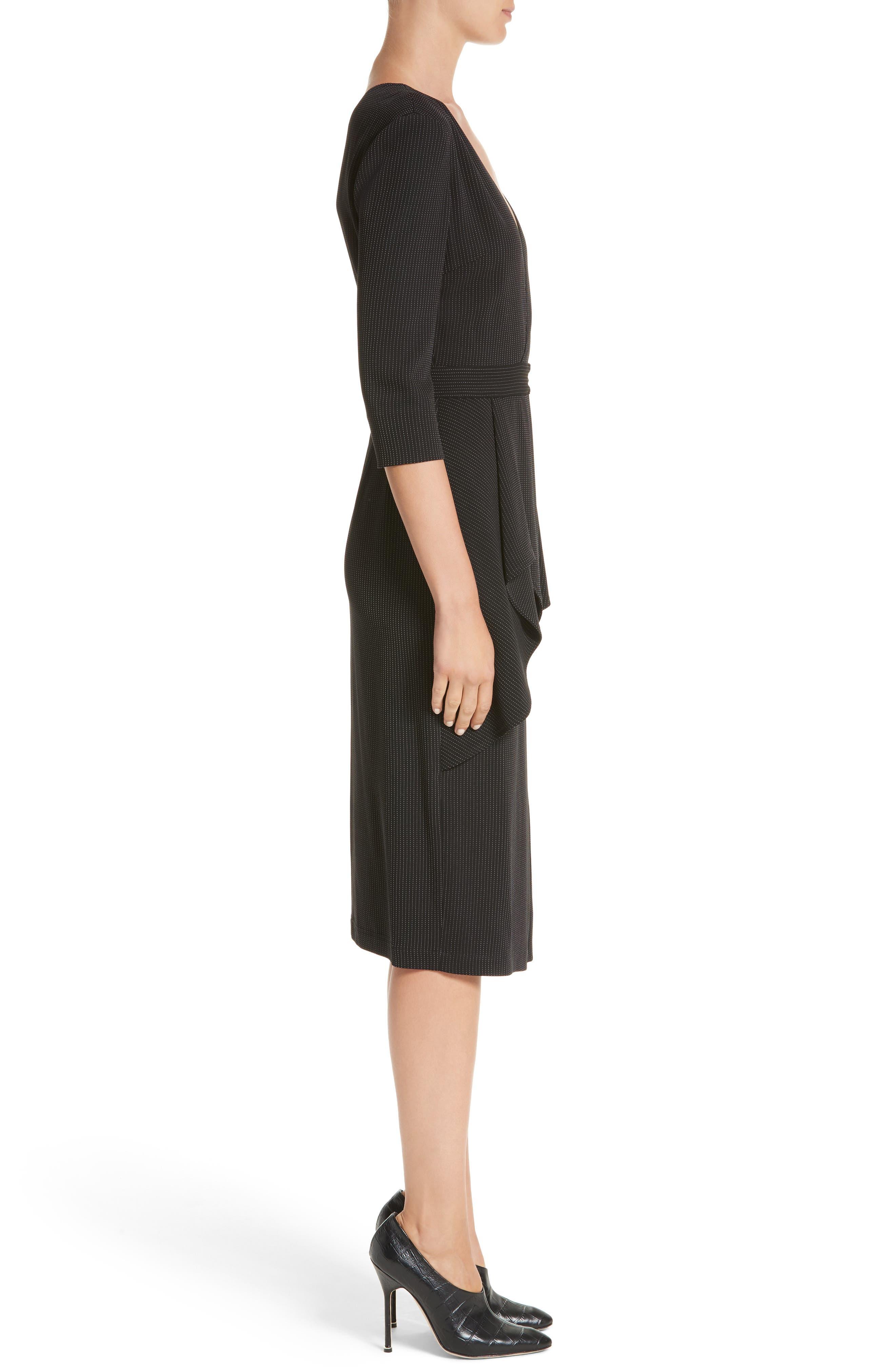 Pinstripe Jersey Sheath Dress,                             Alternate thumbnail 3, color,                             Black / Chalk