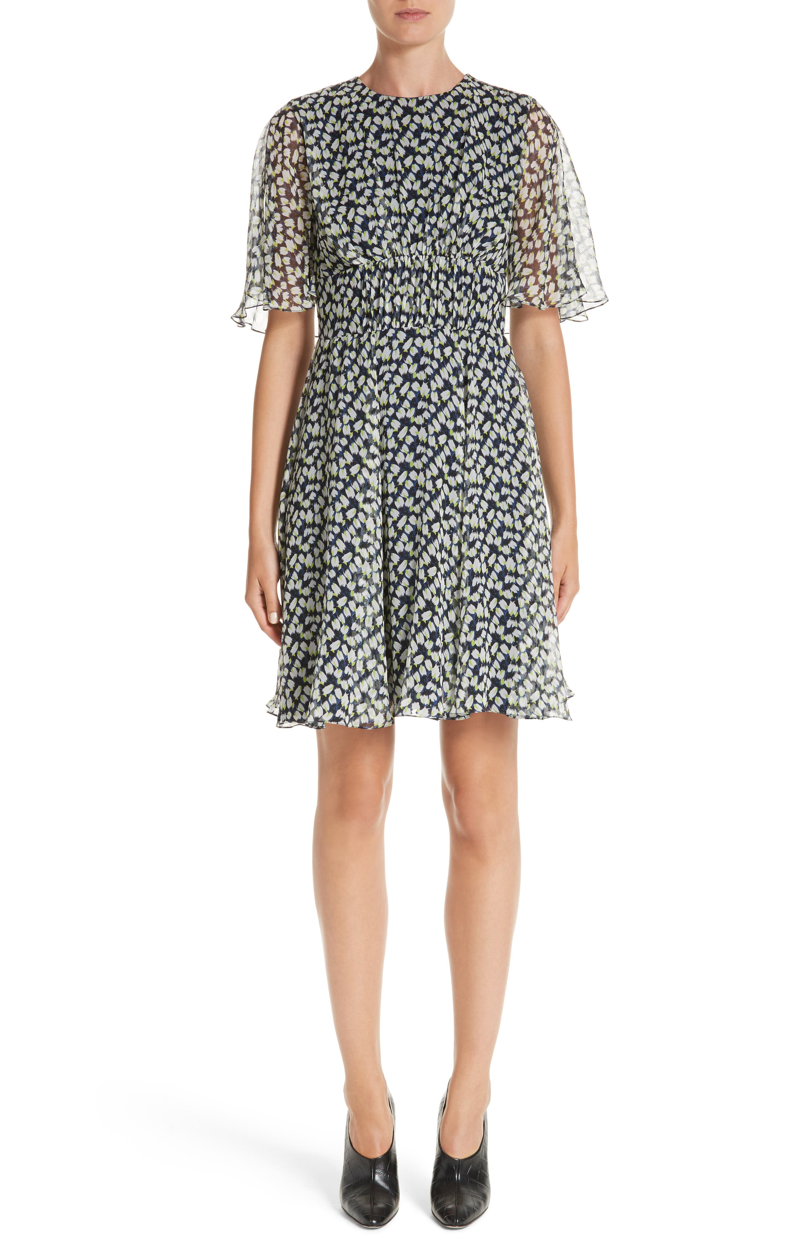 Print Silk Chiffon Day Dress,                         Main,                         color, Azure Multi