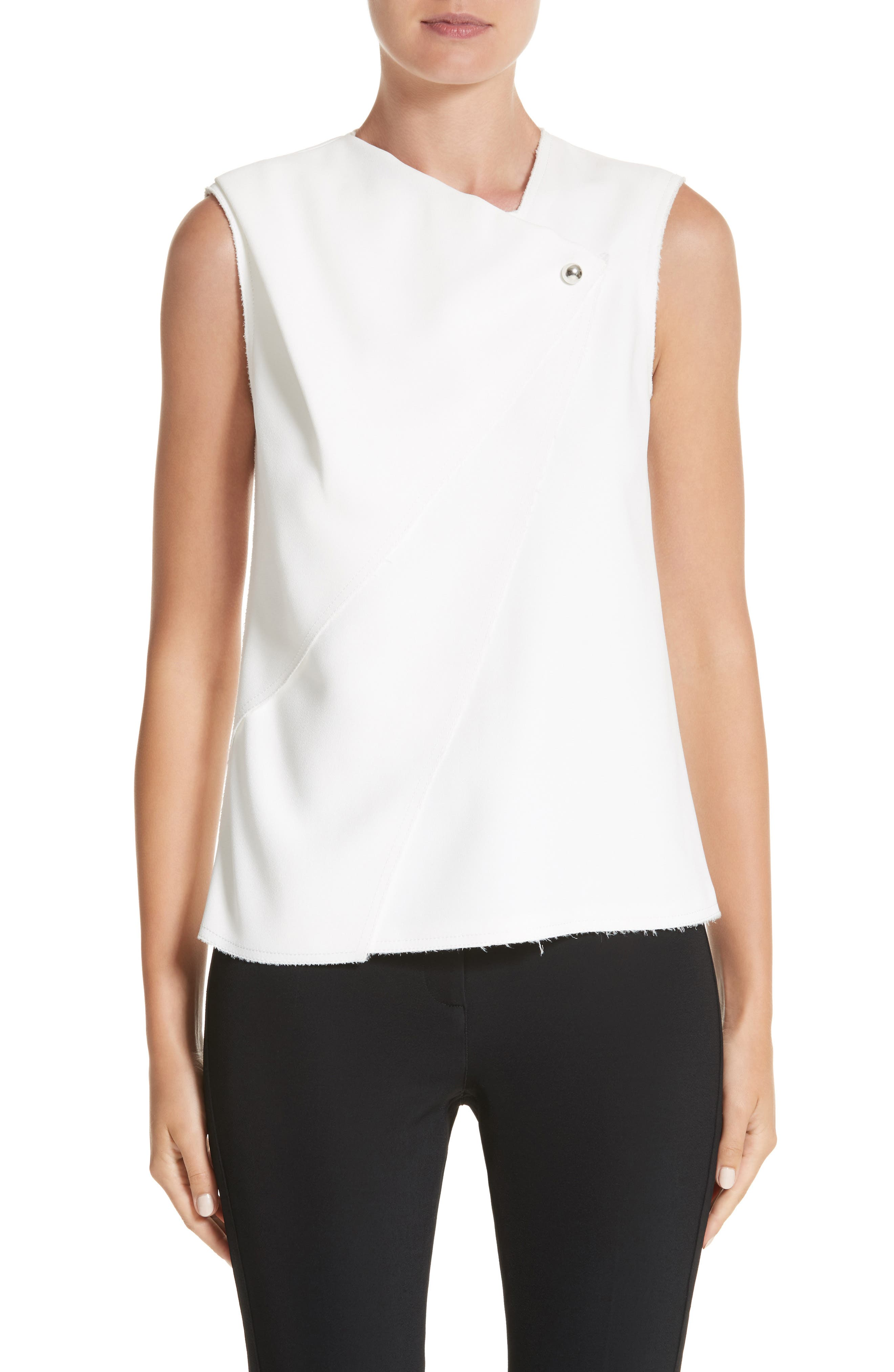 Sleeveless Crepe Top,                         Main,                         color, Chalk