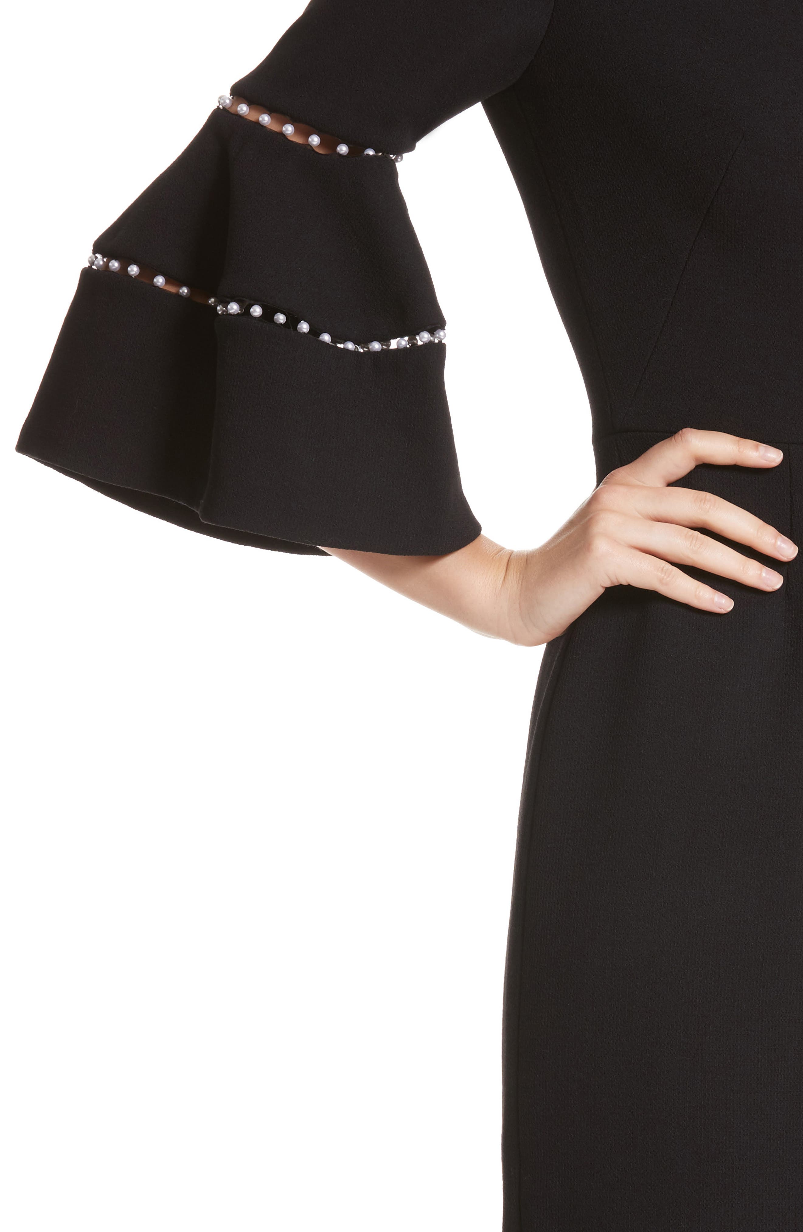 Pearly Trim Bell Sleeve Dress,                             Alternate thumbnail 4, color,                             Black