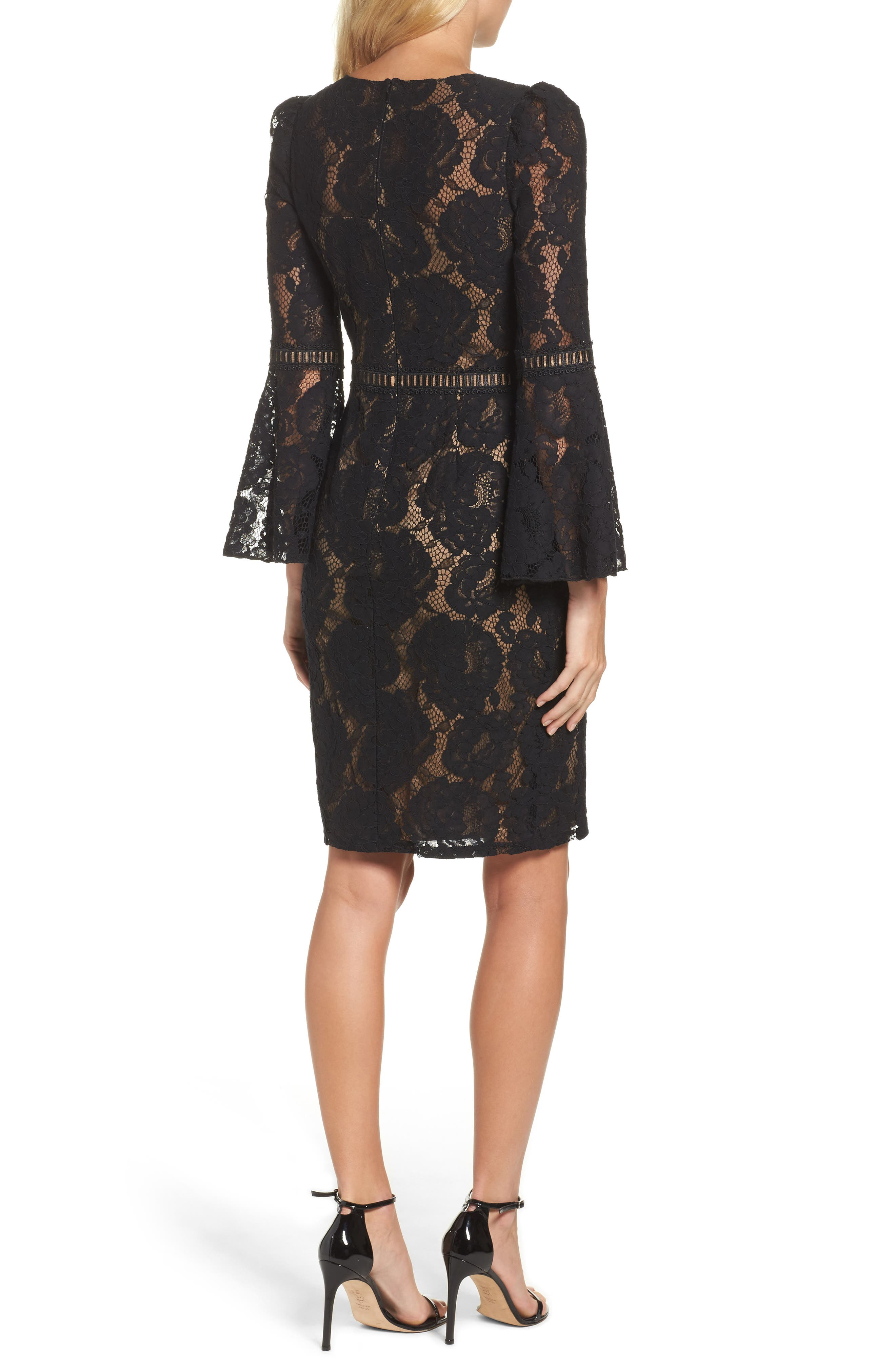 Lace Bell Sleeve Dress,                             Alternate thumbnail 2, color,                             Black/ Nude