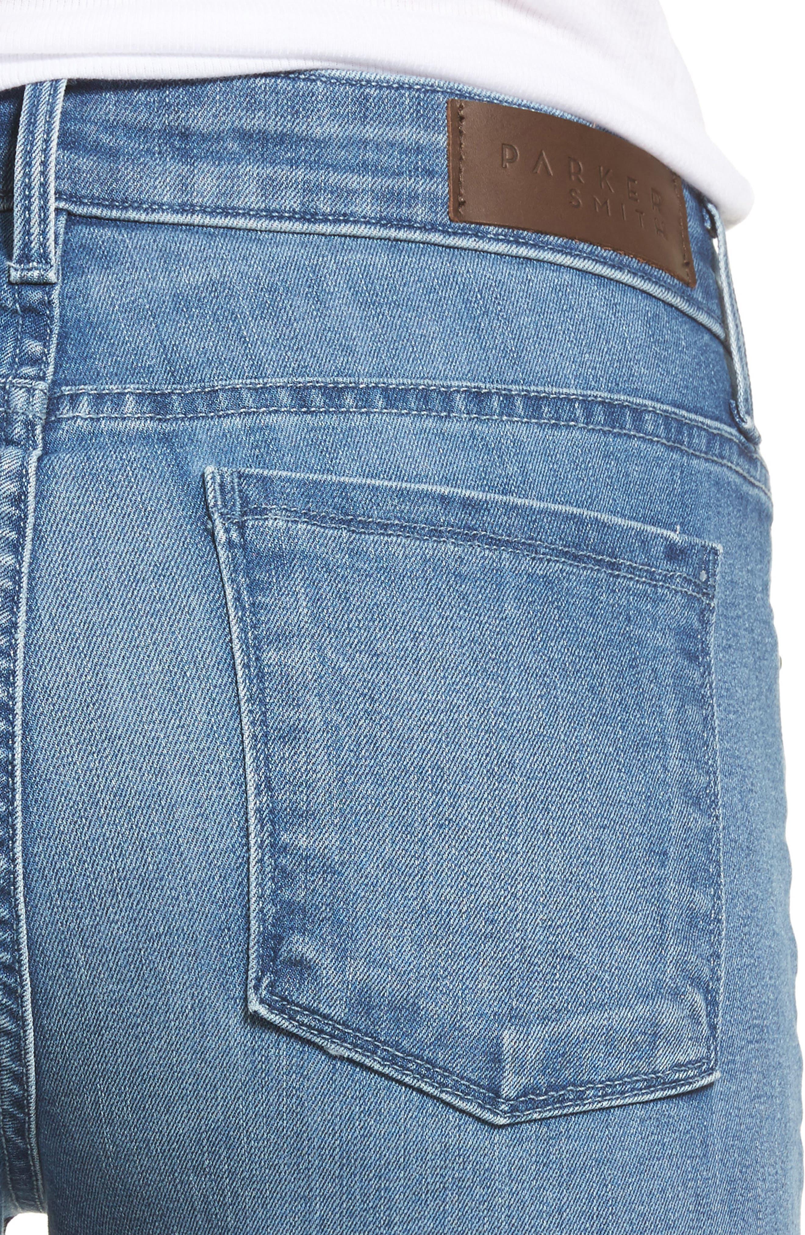 Alternate Image 4  - PARKER SMITH Raw Edge Ankle Straight Jeans (Sea Coast)