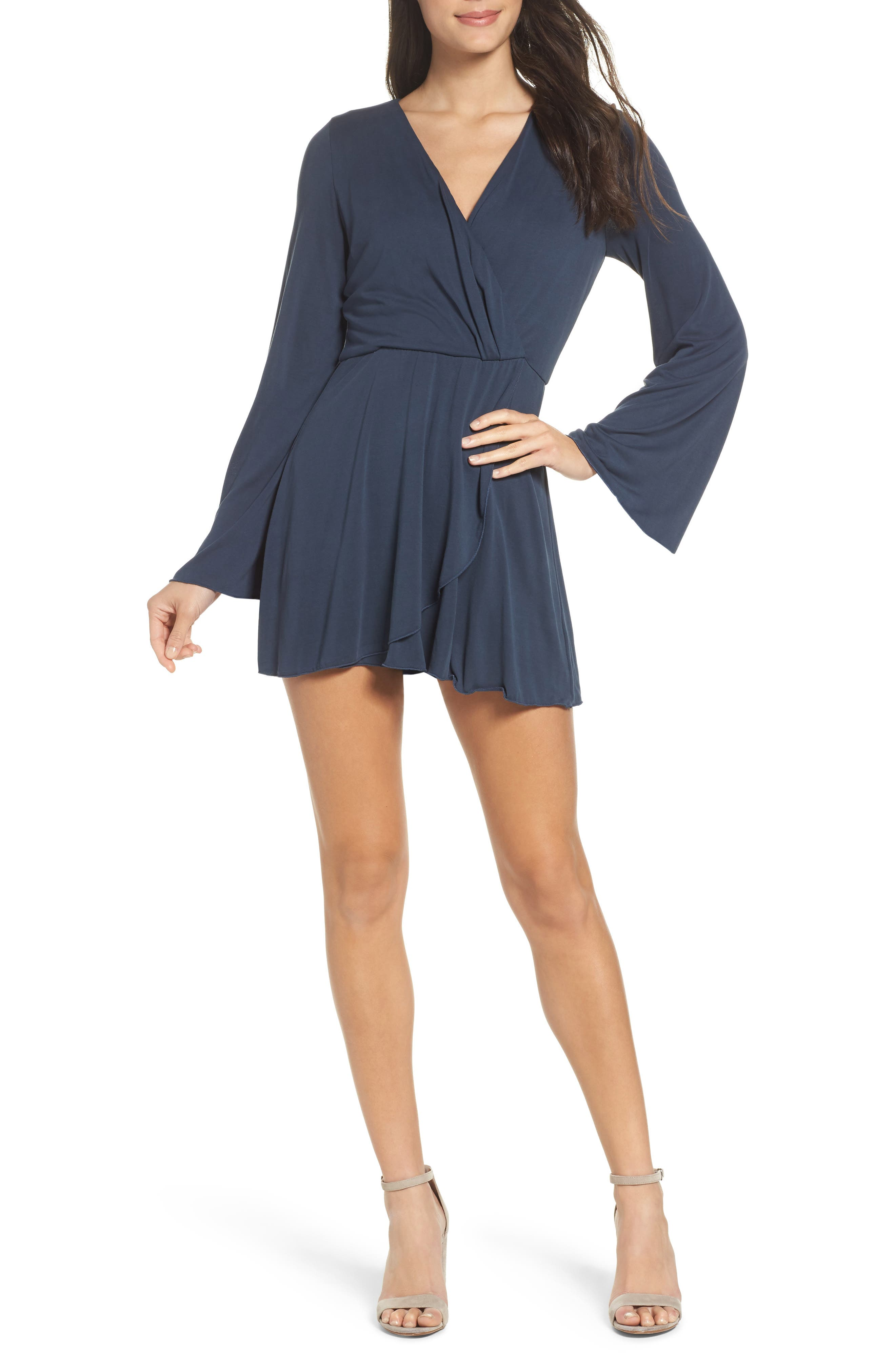Long Sleeve Romper,                         Main,                         color, Navy