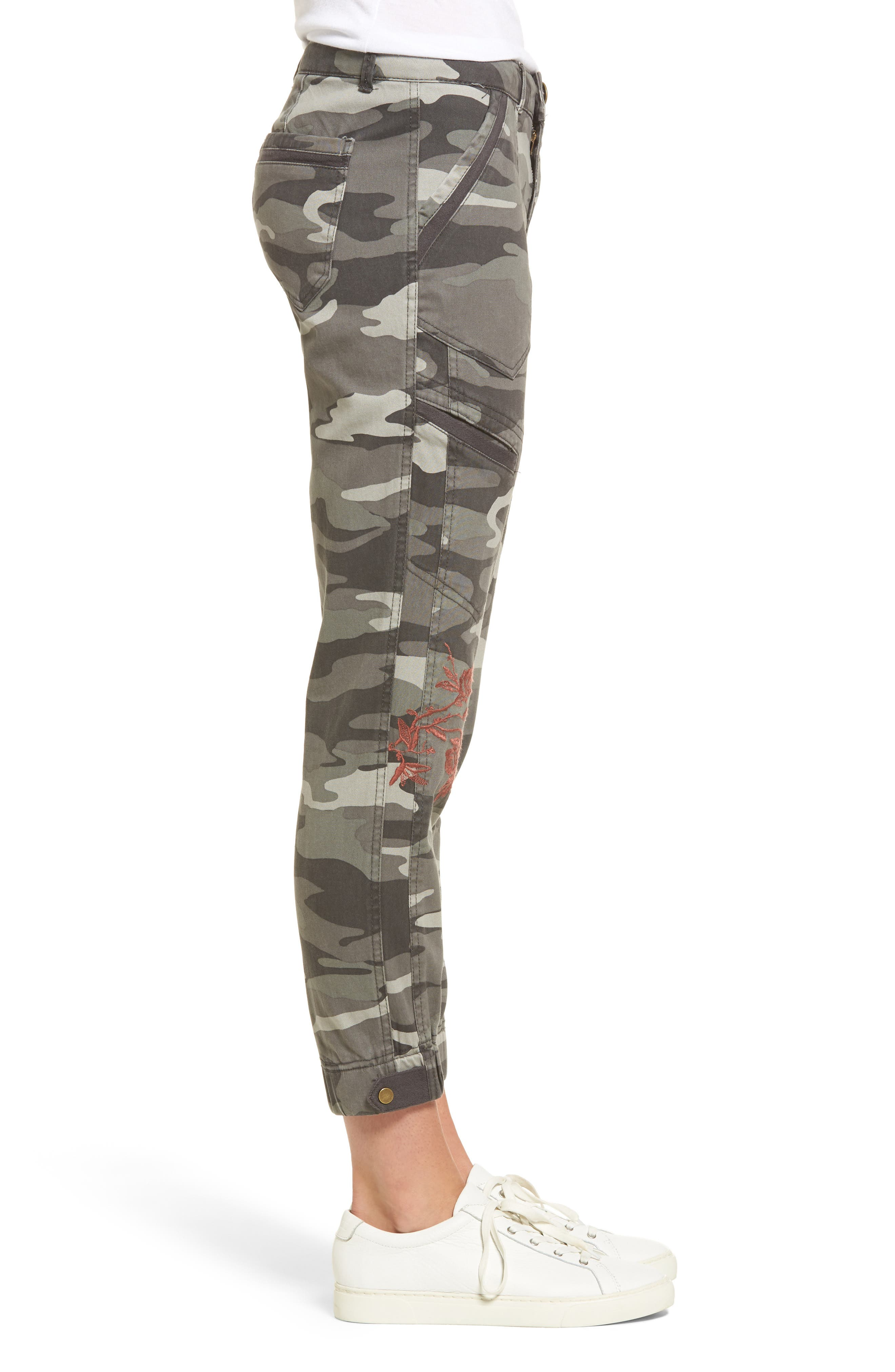 Embroidered Camo Utility Joggers,                             Alternate thumbnail 3, color,                             Sage
