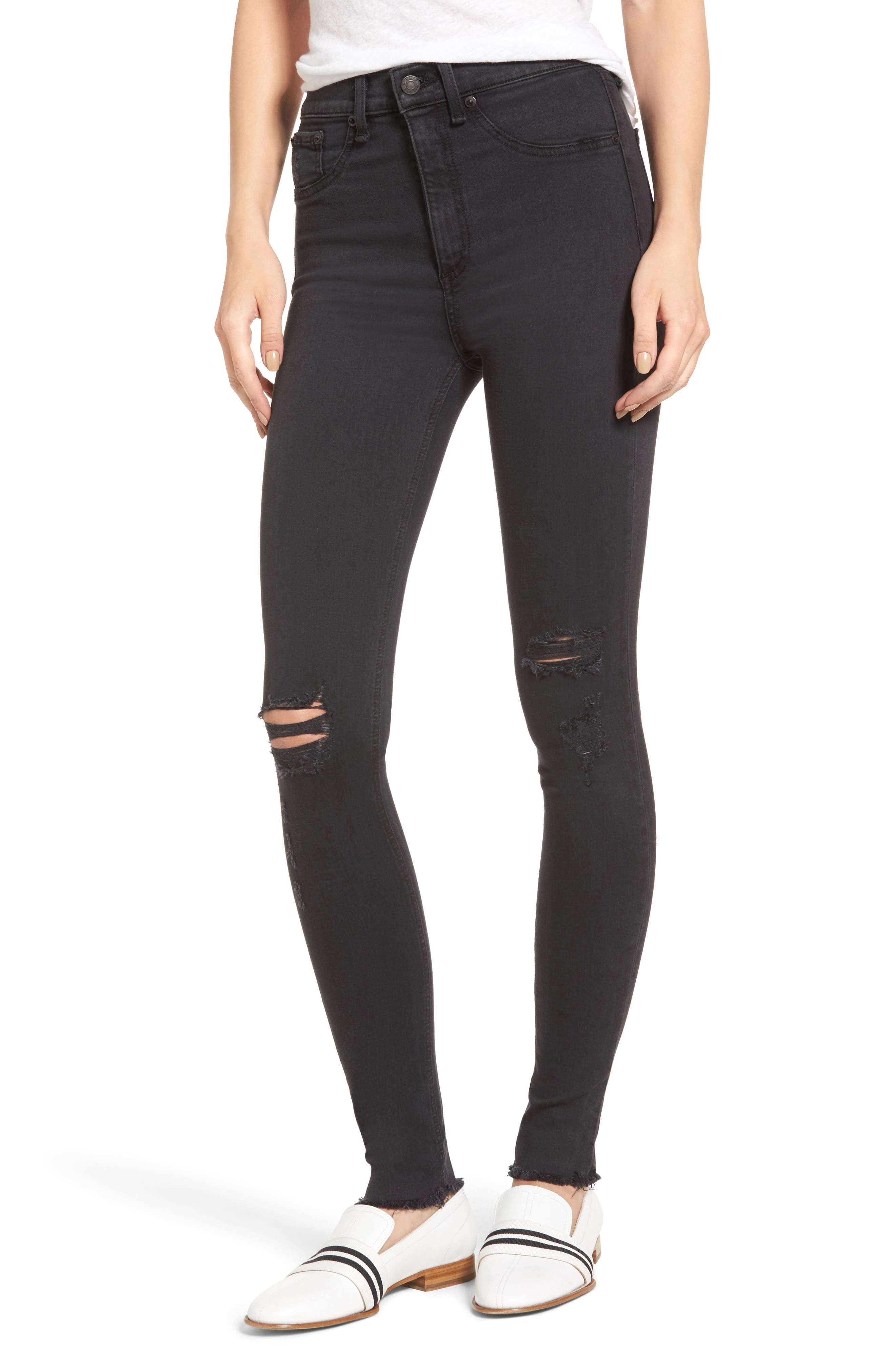 Alternate Image 1 Selected - rag & bone/JEAN Ripped High Waist Skinny Jeans (Night with Holes)